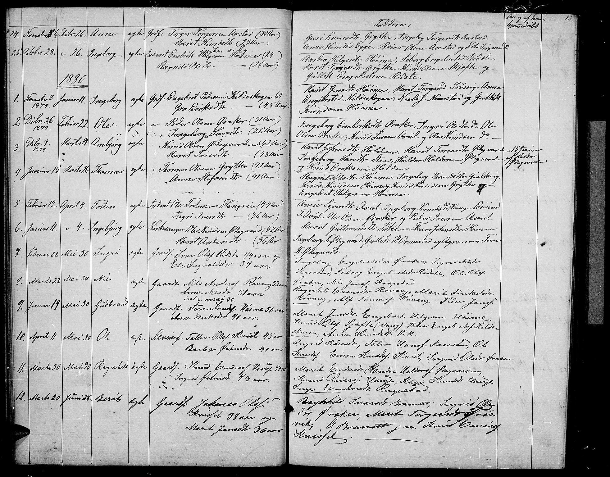 SAH, Vestre Slidre prestekontor, Klokkerbok nr. 2, 1869-1882, s. 16