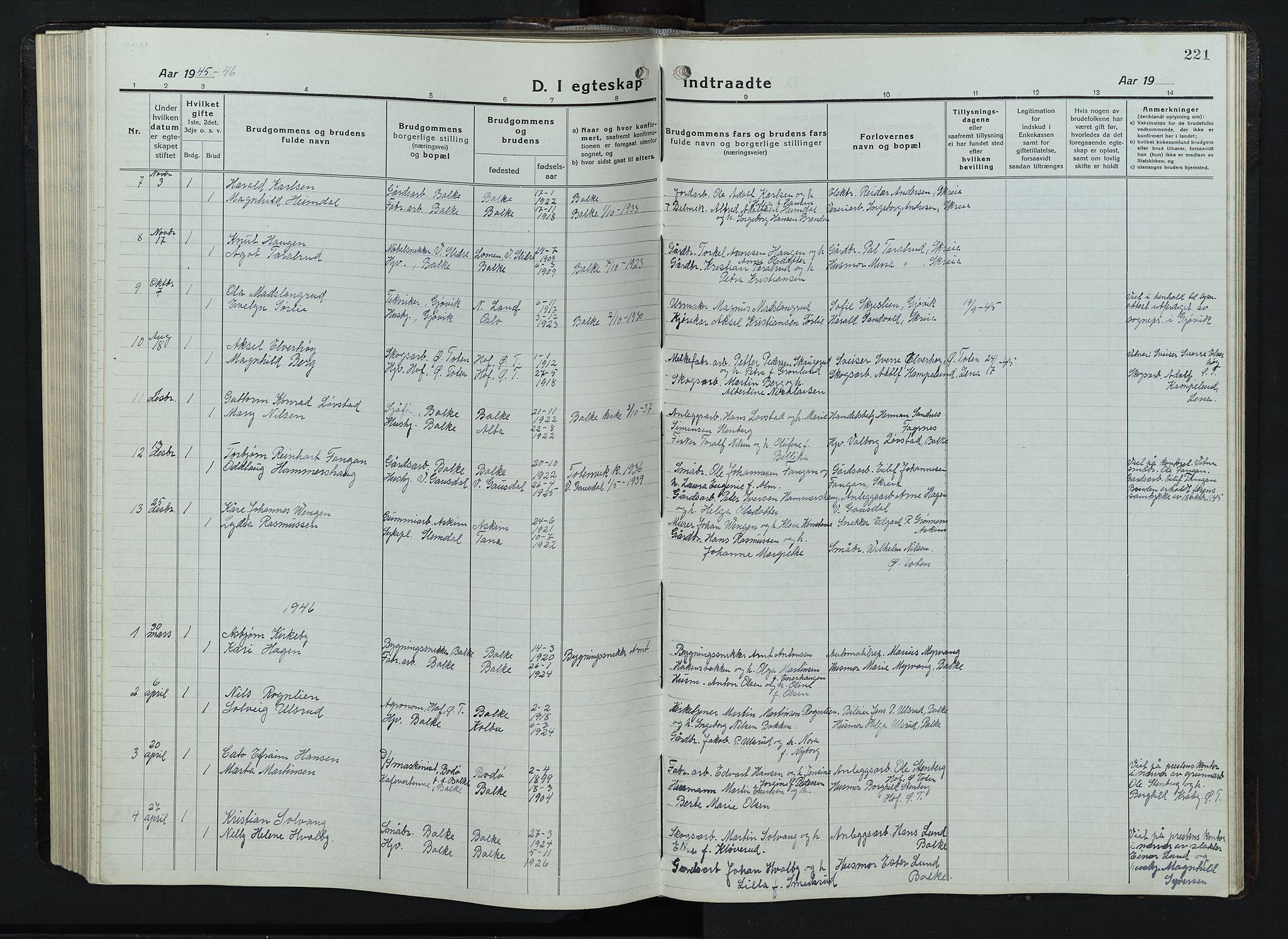 SAH, Balke prestekontor, Klokkerbok nr. 1, 1920-1955, s. 221