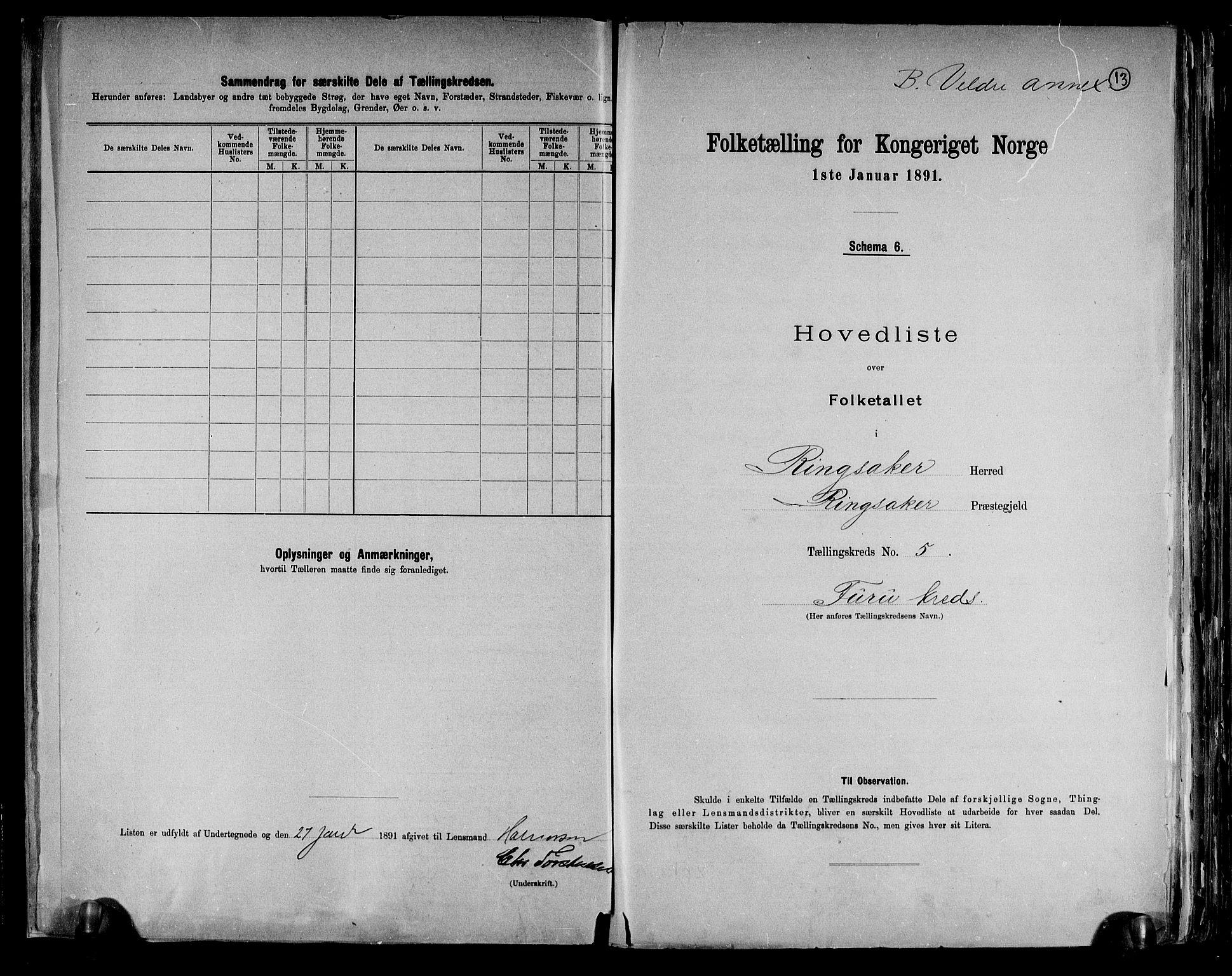 RA, Folketelling 1891 for 0412 Ringsaker herred, 1891, s. 13