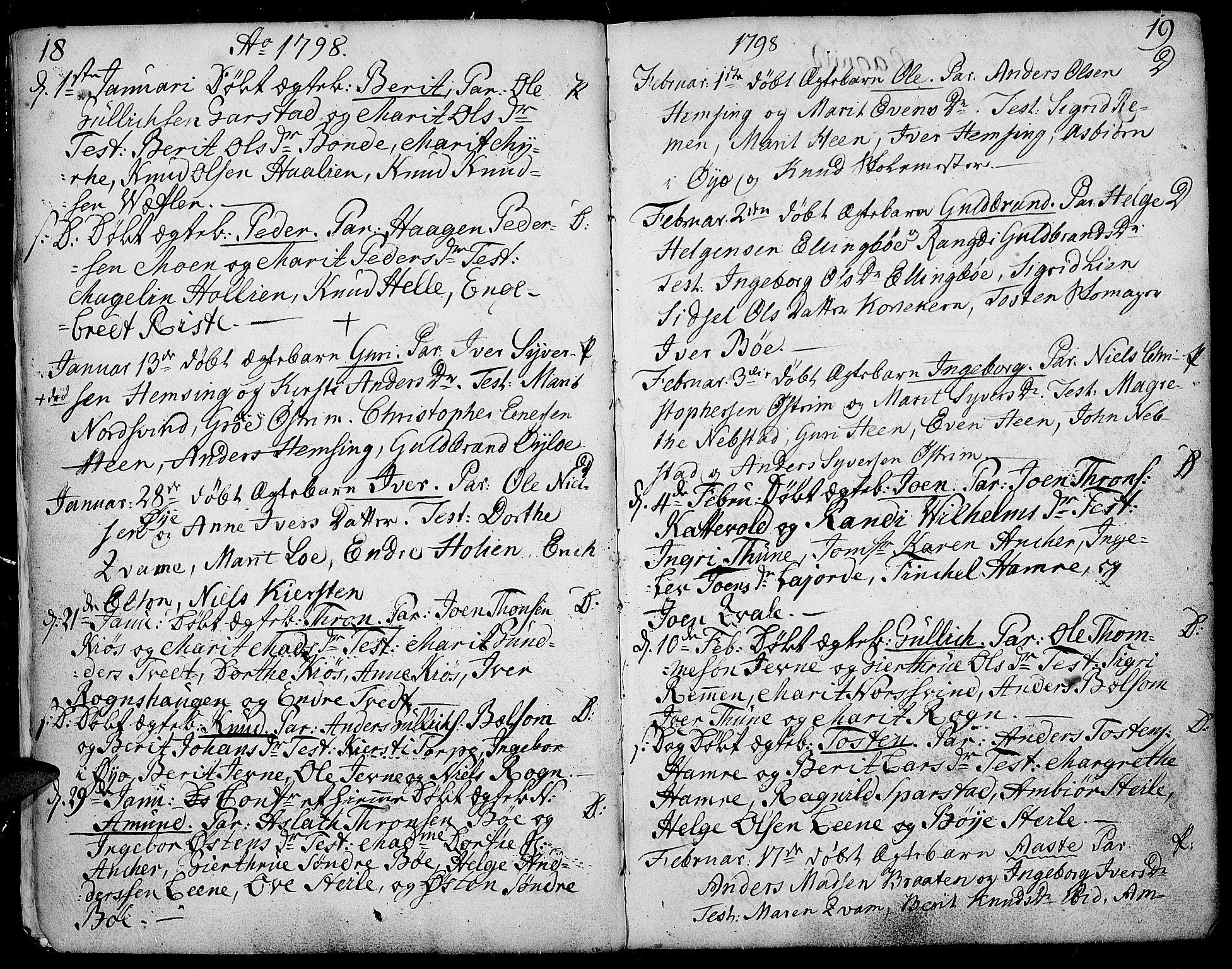 SAH, Vang prestekontor, Valdres, Ministerialbok nr. 2, 1796-1808, s. 18-19