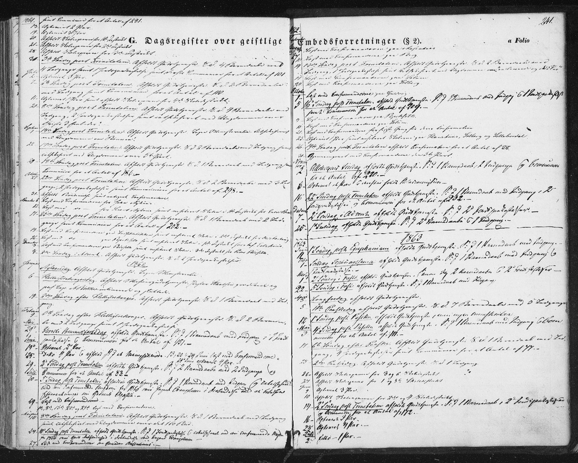 SAT, Ministerialprotokoller, klokkerbøker og fødselsregistre - Sør-Trøndelag, 689/L1038: Ministerialbok nr. 689A03, 1848-1872, s. 241