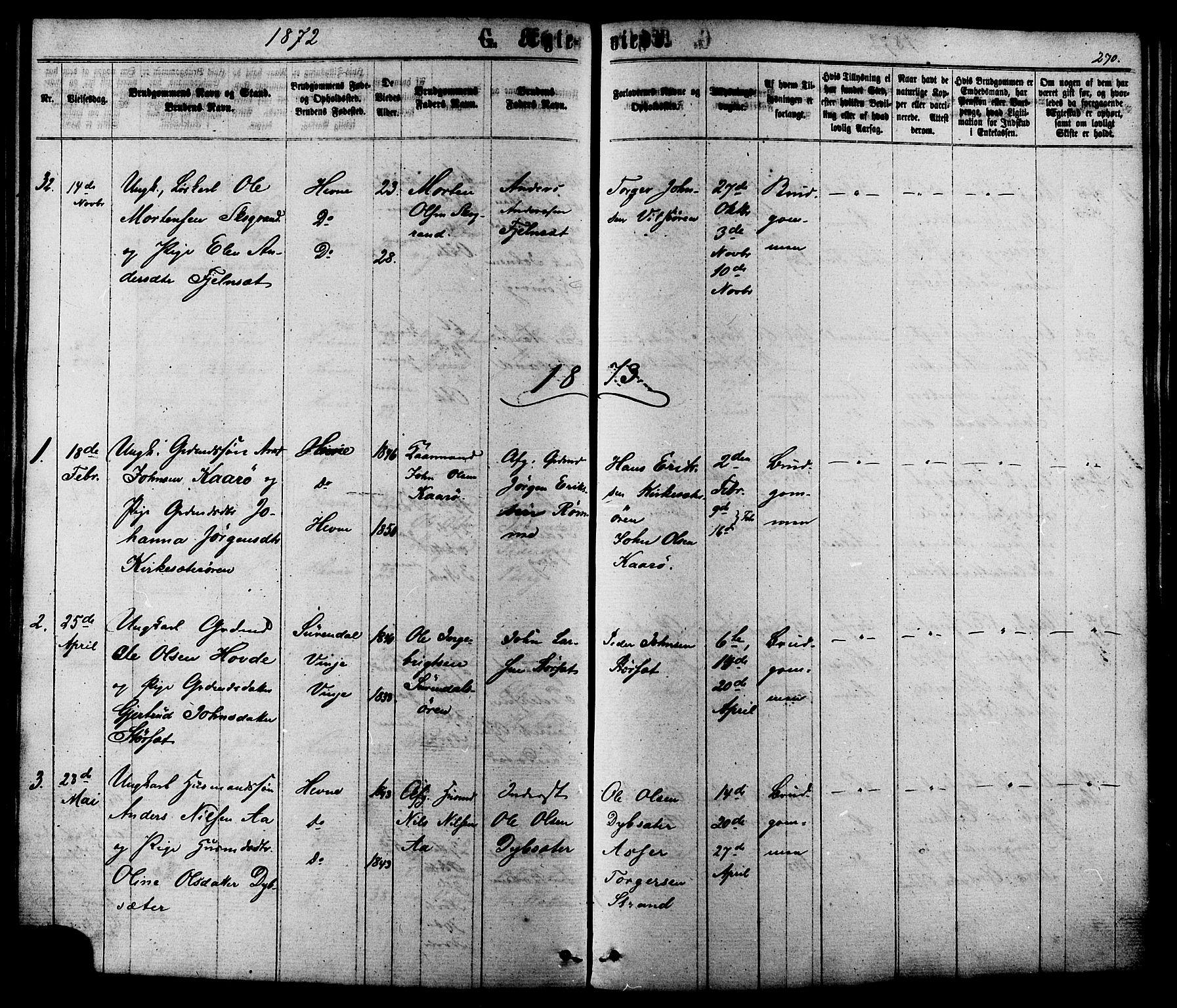 SAT, Ministerialprotokoller, klokkerbøker og fødselsregistre - Sør-Trøndelag, 630/L0495: Ministerialbok nr. 630A08, 1868-1878, s. 270
