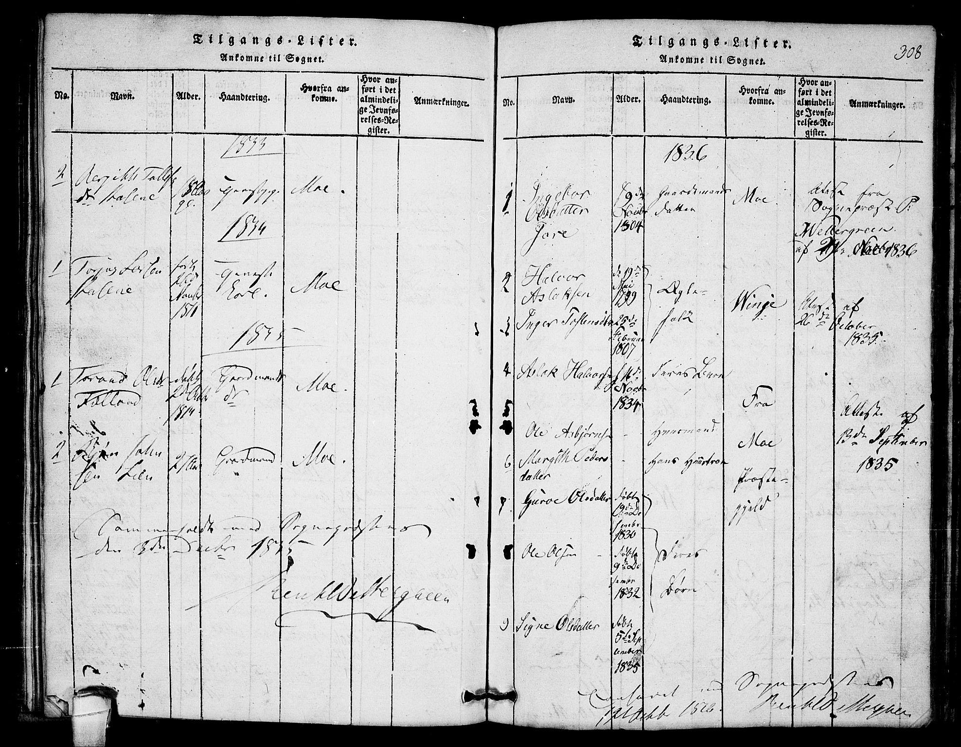 SAKO, Lårdal kirkebøker, G/Gb/L0001: Klokkerbok nr. II 1, 1815-1865, s. 308