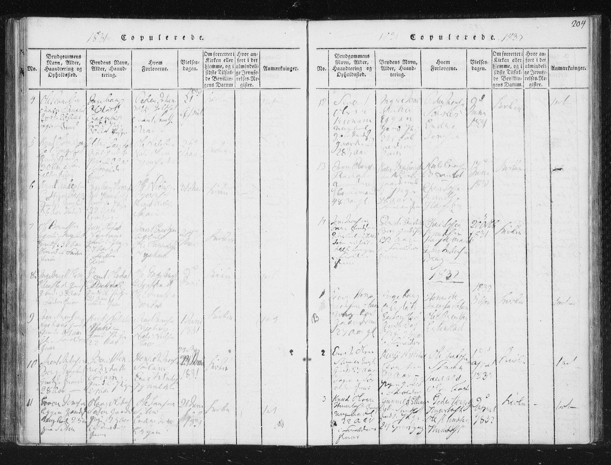 SAT, Ministerialprotokoller, klokkerbøker og fødselsregistre - Sør-Trøndelag, 689/L1037: Ministerialbok nr. 689A02, 1816-1842, s. 204