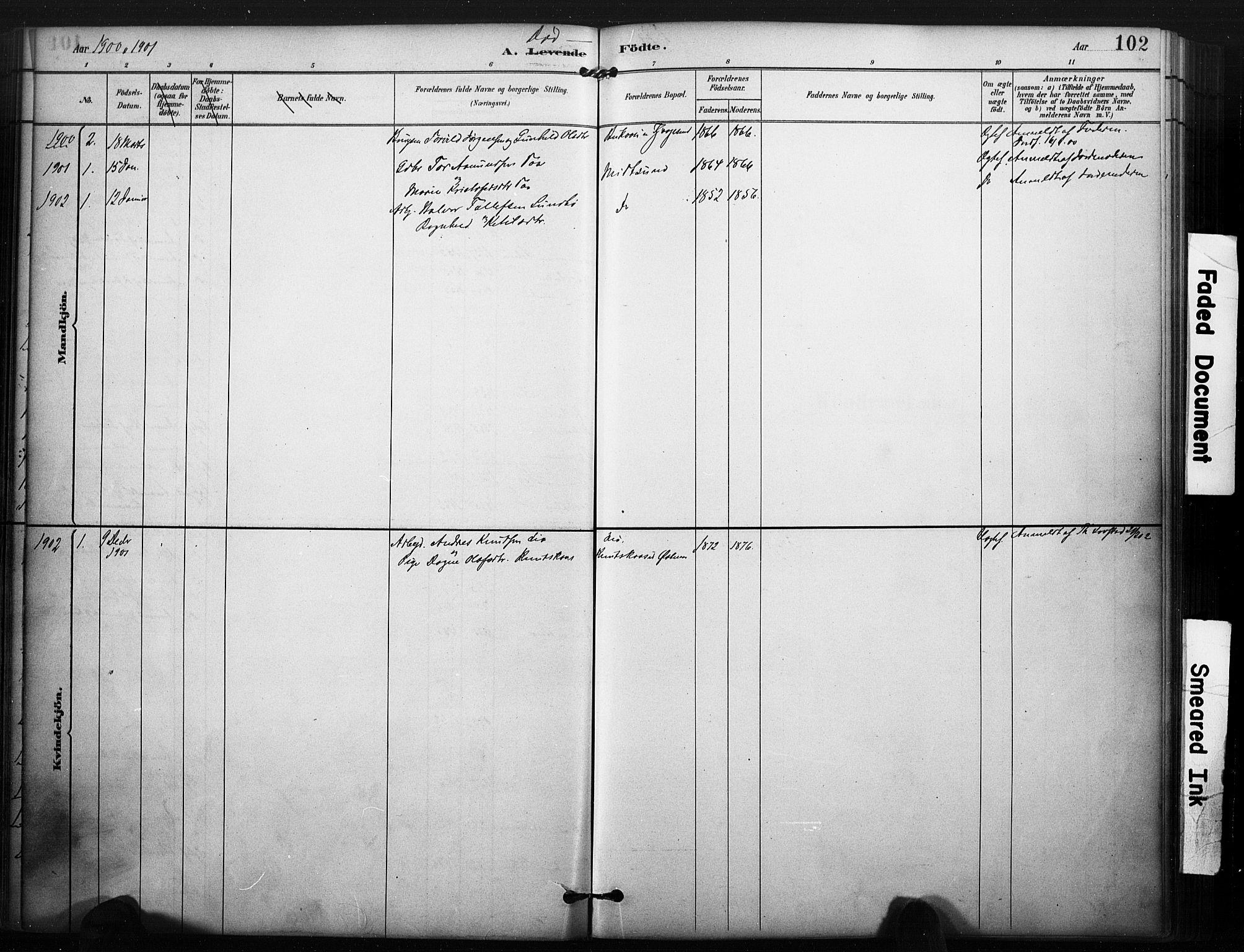 SAKO, Kviteseid kirkebøker, F/Fa/L0008: Ministerialbok nr. I 8, 1882-1903, s. 102