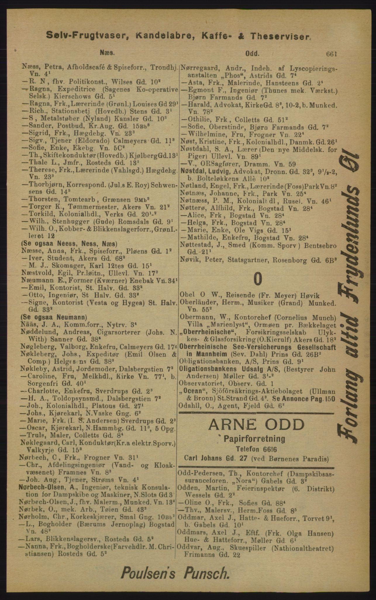 RA, Kristiania adressebok (publikasjon)*, 1905, s. 661
