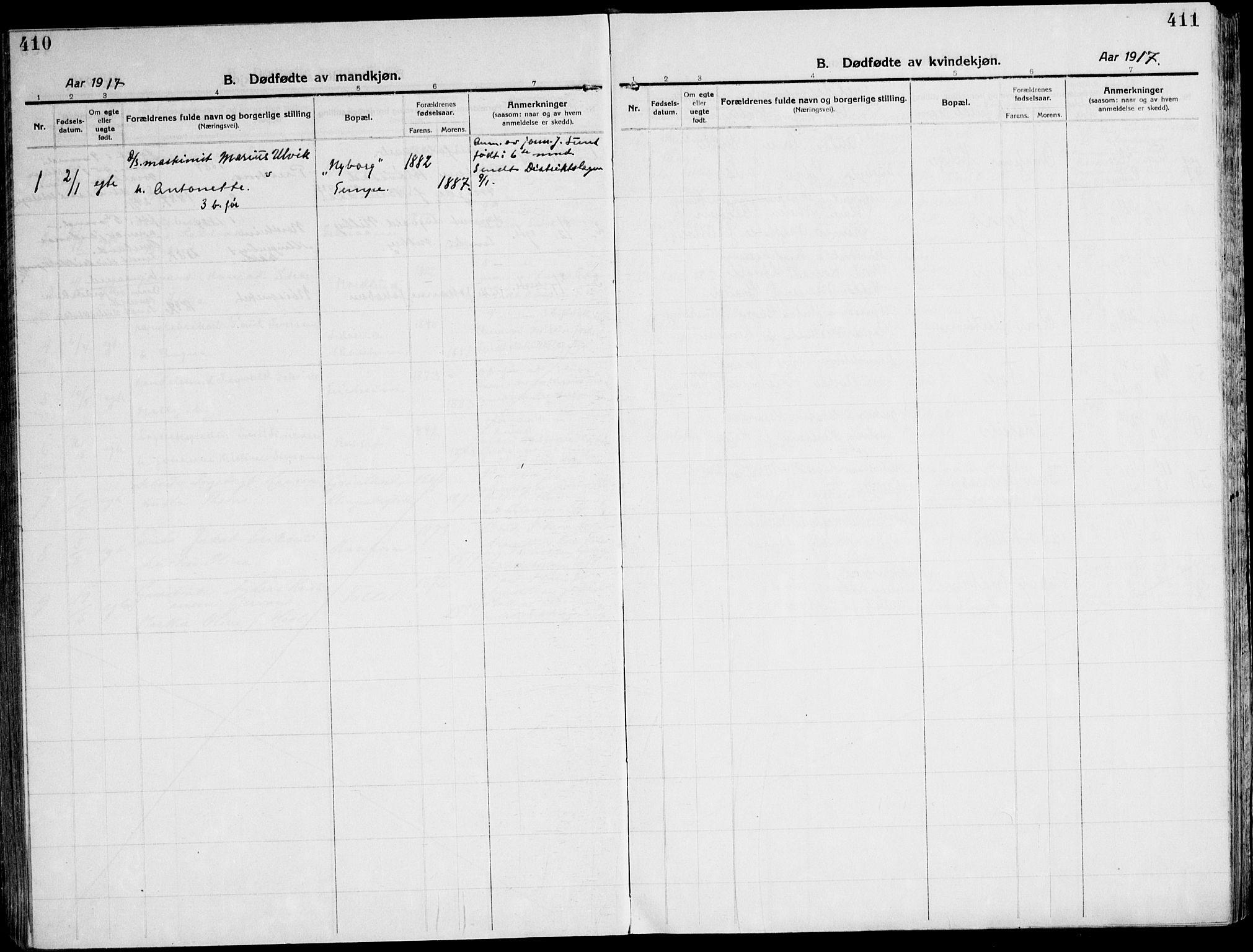 SAT, Ministerialprotokoller, klokkerbøker og fødselsregistre - Sør-Trøndelag, 607/L0321: Ministerialbok nr. 607A05, 1916-1935, s. 410-411