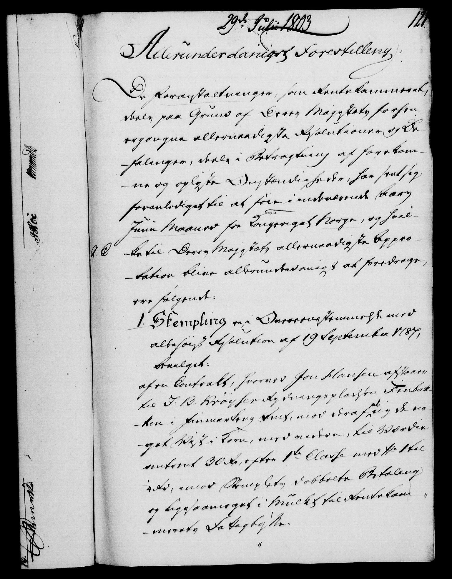 RA, Rentekammeret, Kammerkanselliet, G/Gf/Gfa/L0085: Norsk relasjons- og resolusjonsprotokoll (merket RK 52.85), 1803, s. 685