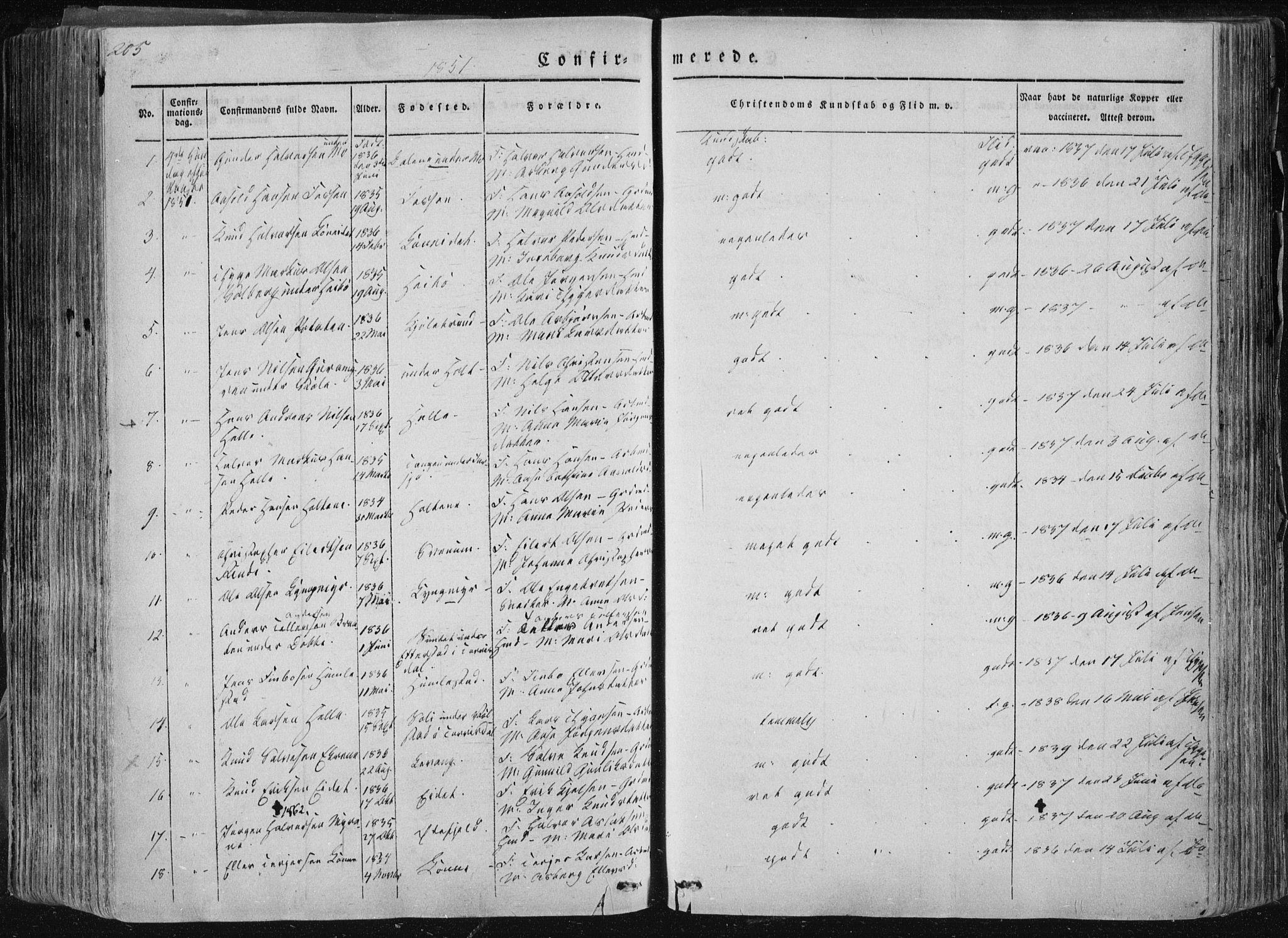 SAKO, Sannidal kirkebøker, F/Fa/L0007: Ministerialbok nr. 7, 1831-1854, s. 205