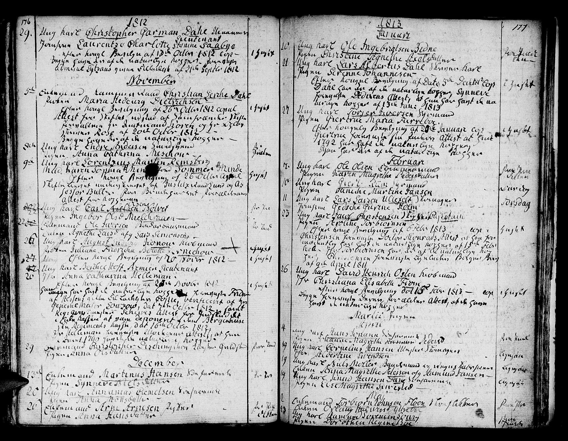 SAB, Domkirken Sokneprestembete, H/Haa/L0007: Ministerialbok nr. A 7, 1725-1826, s. 176-177