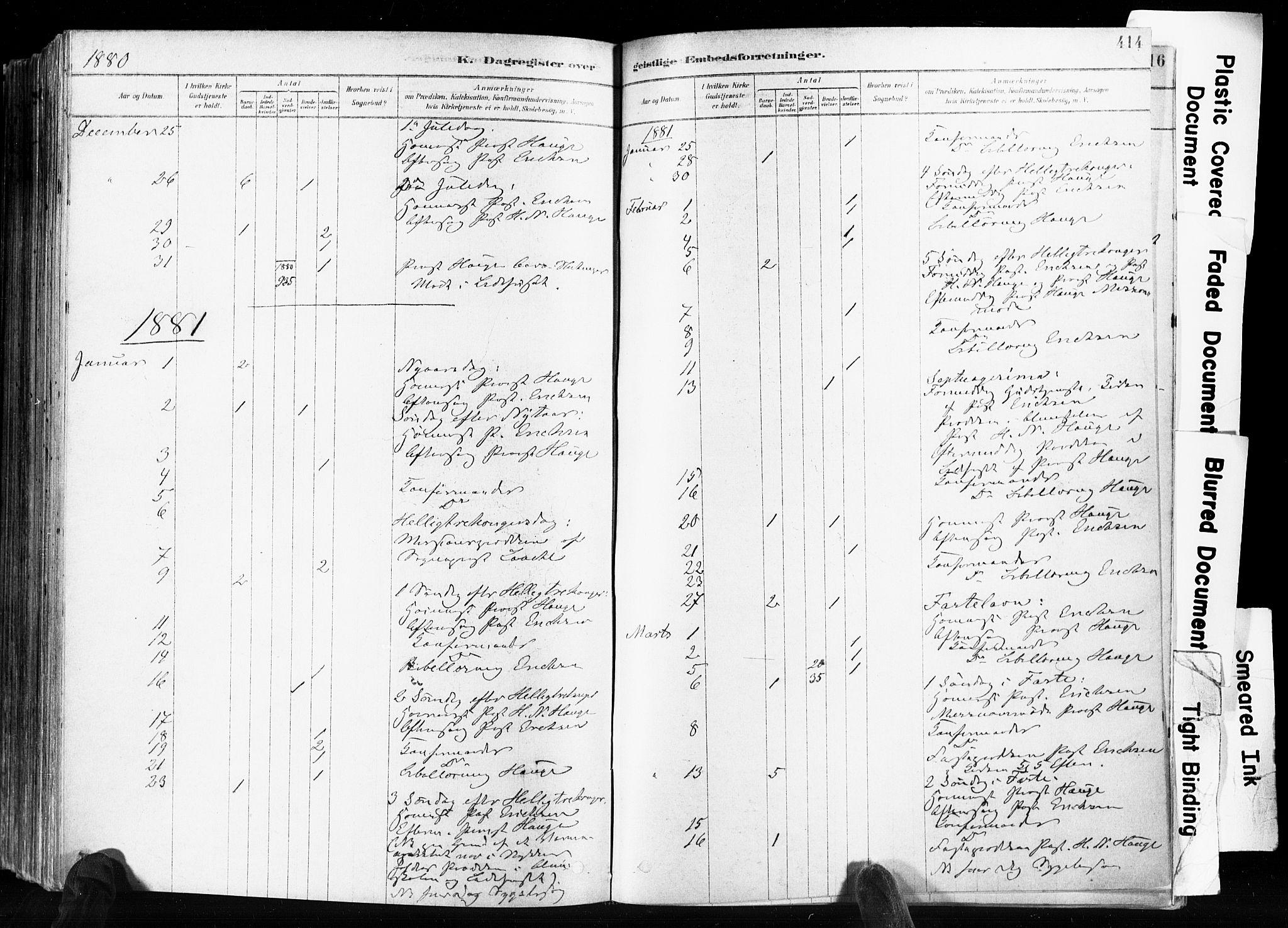 SAKO, Skien kirkebøker, F/Fa/L0009: Ministerialbok nr. 9, 1878-1890, s. 414