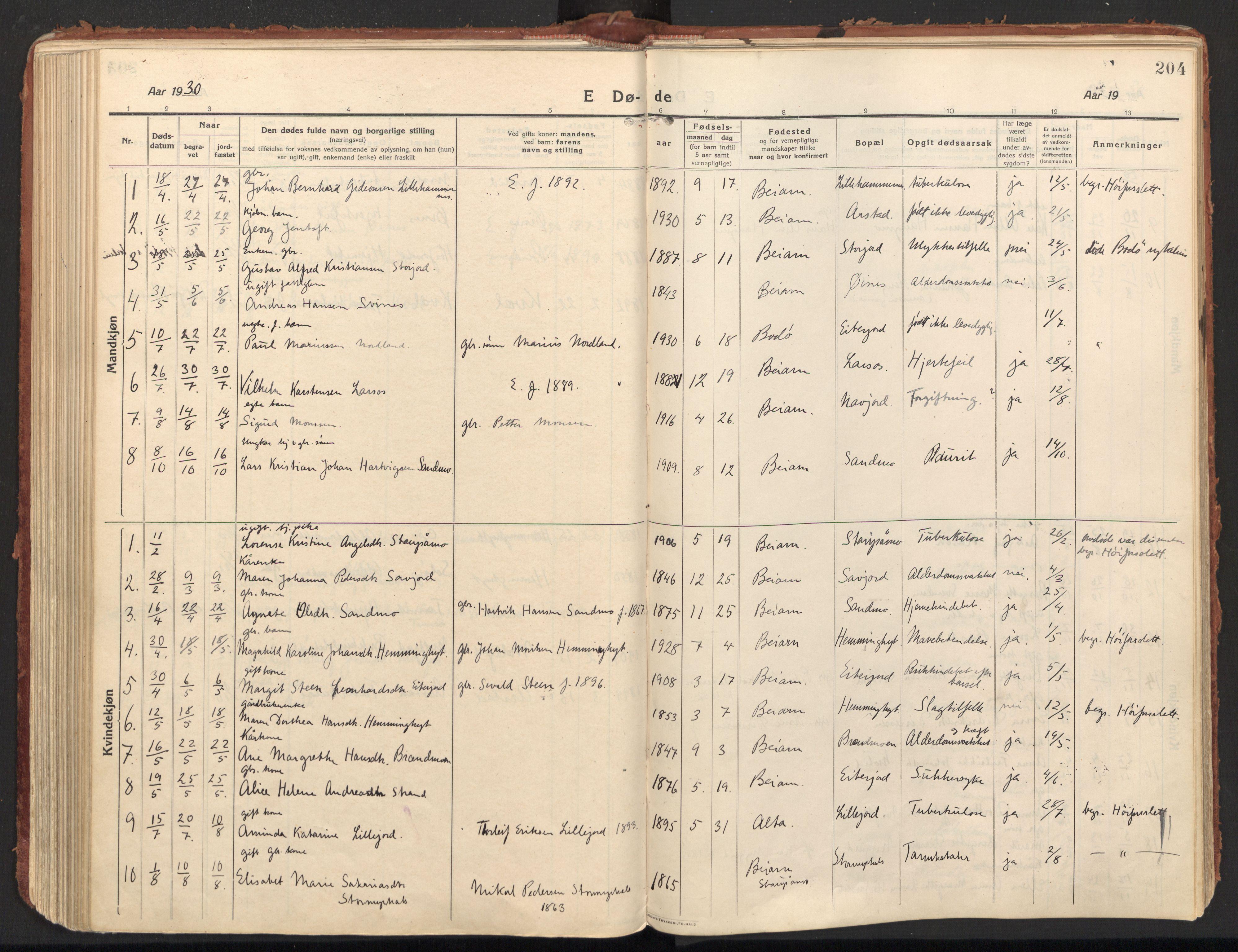 SAT, Ministerialprotokoller, klokkerbøker og fødselsregistre - Nordland, 846/L0650: Ministerialbok nr. 846A08, 1916-1935, s. 204