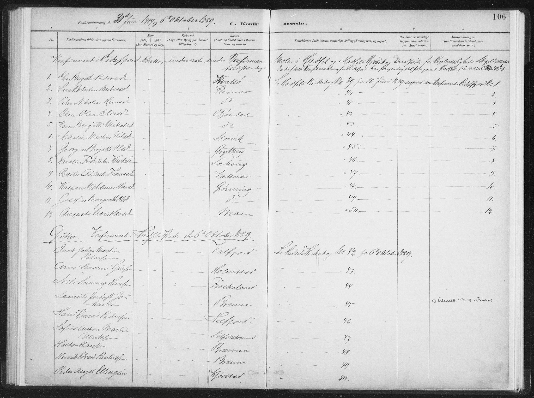 SAT, Ministerialprotokoller, klokkerbøker og fødselsregistre - Nordland, 890/L1286: Ministerialbok nr. 890A01, 1882-1902, s. 106