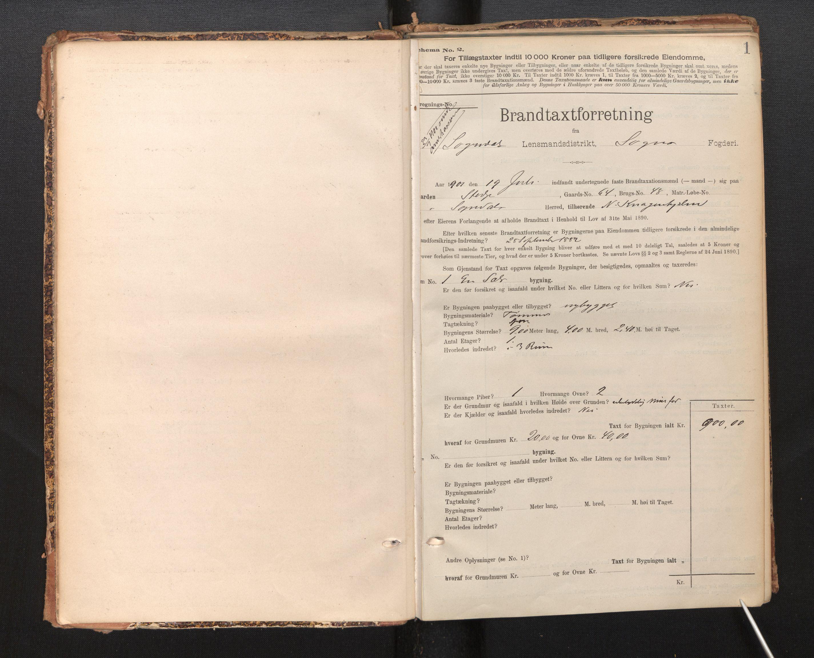 SAB, Lensmannen i Sogndal, 0012/L0009: Branntakstprotokoll, skjematakst, 1901-1914, s. 1