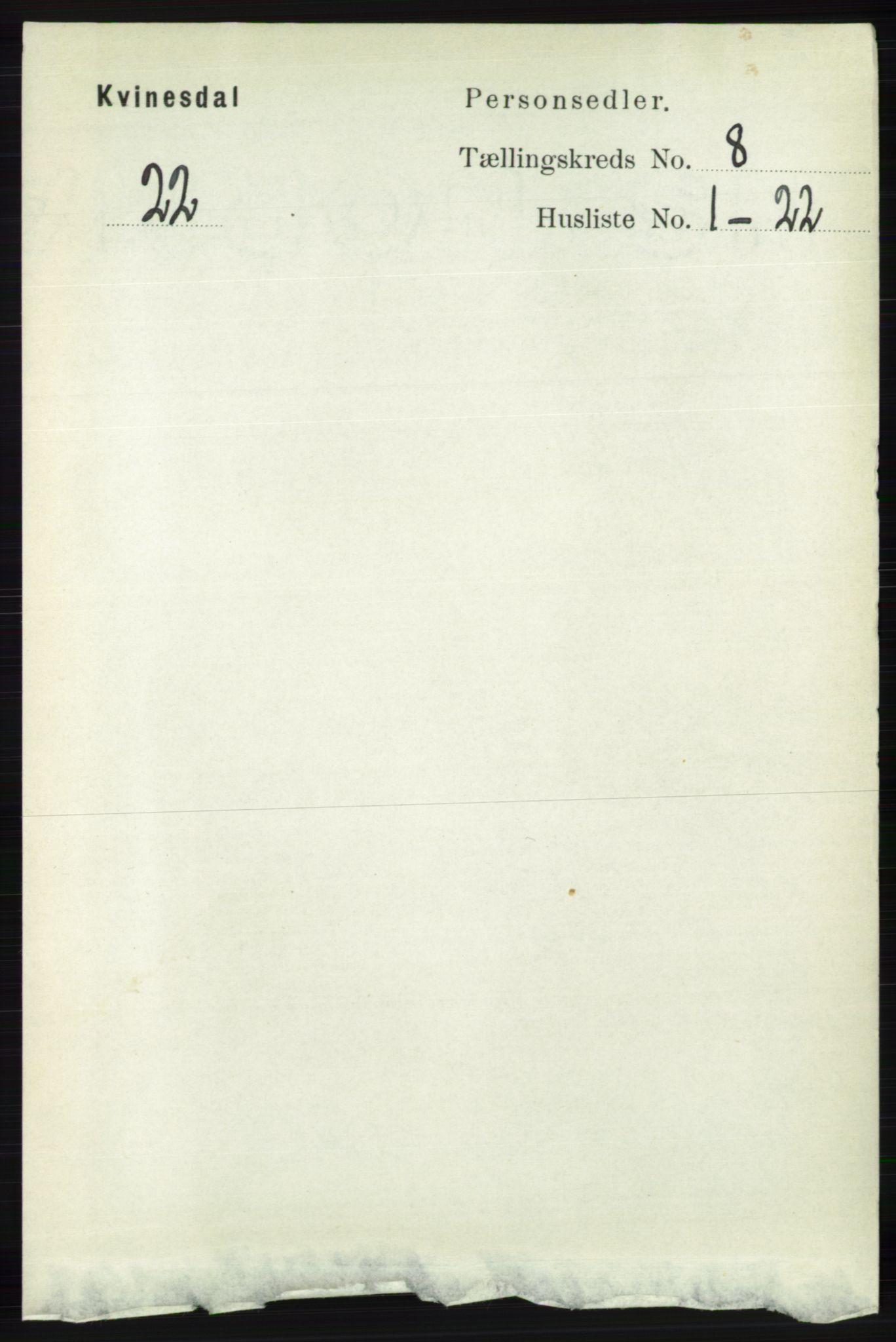RA, Folketelling 1891 for 1037 Kvinesdal herred, 1891, s. 2766