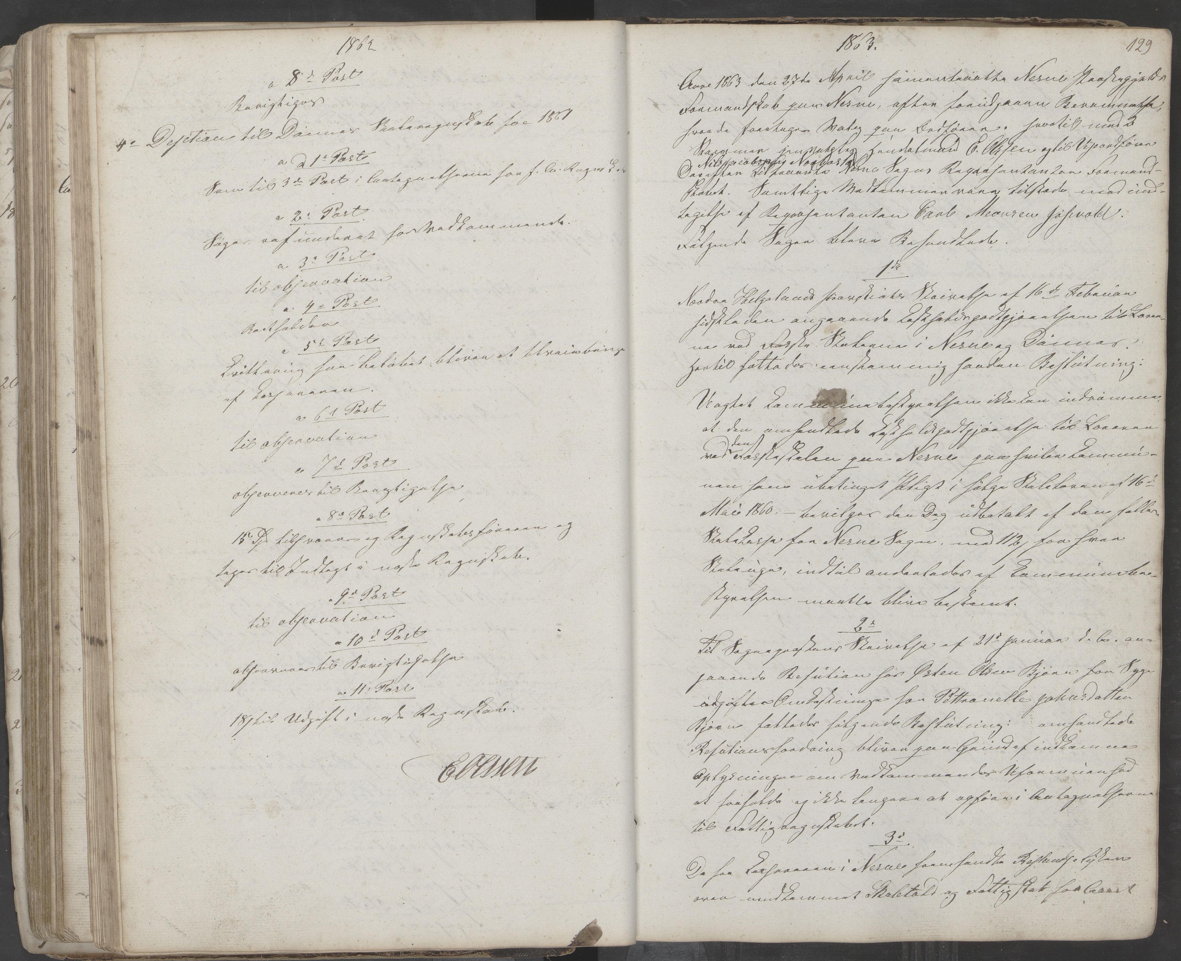 AIN, Nesna kommune. Formannskapet, 100/L0001: Møtebok, 1838-1873, s. 129
