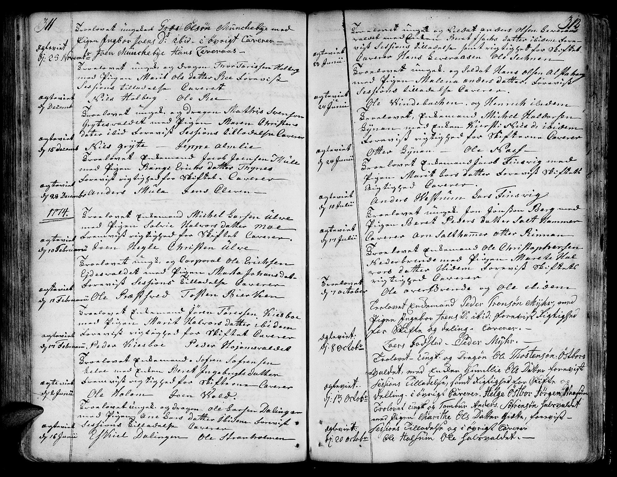 SAT, Ministerialprotokoller, klokkerbøker og fødselsregistre - Nord-Trøndelag, 717/L0141: Ministerialbok nr. 717A01, 1747-1803, s. 311-312