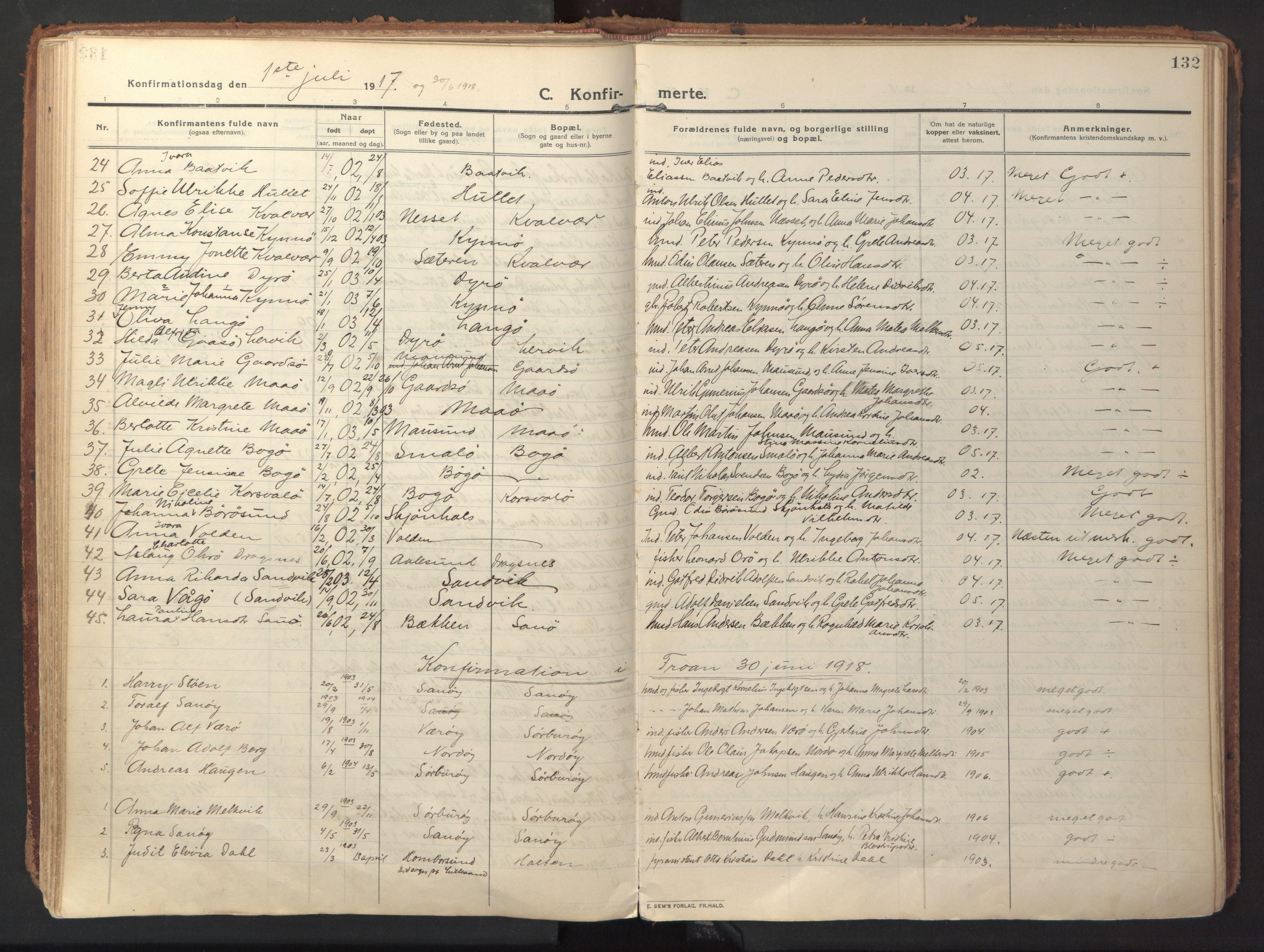 SAT, Ministerialprotokoller, klokkerbøker og fødselsregistre - Sør-Trøndelag, 640/L0581: Ministerialbok nr. 640A06, 1910-1924, s. 132