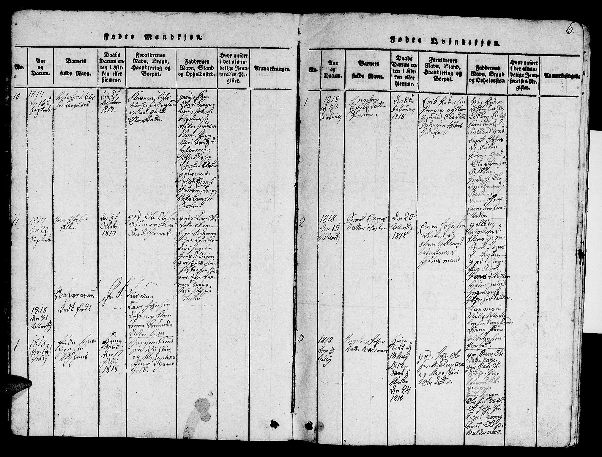 SAT, Ministerialprotokoller, klokkerbøker og fødselsregistre - Sør-Trøndelag, 693/L1121: Klokkerbok nr. 693C02, 1816-1869, s. 6