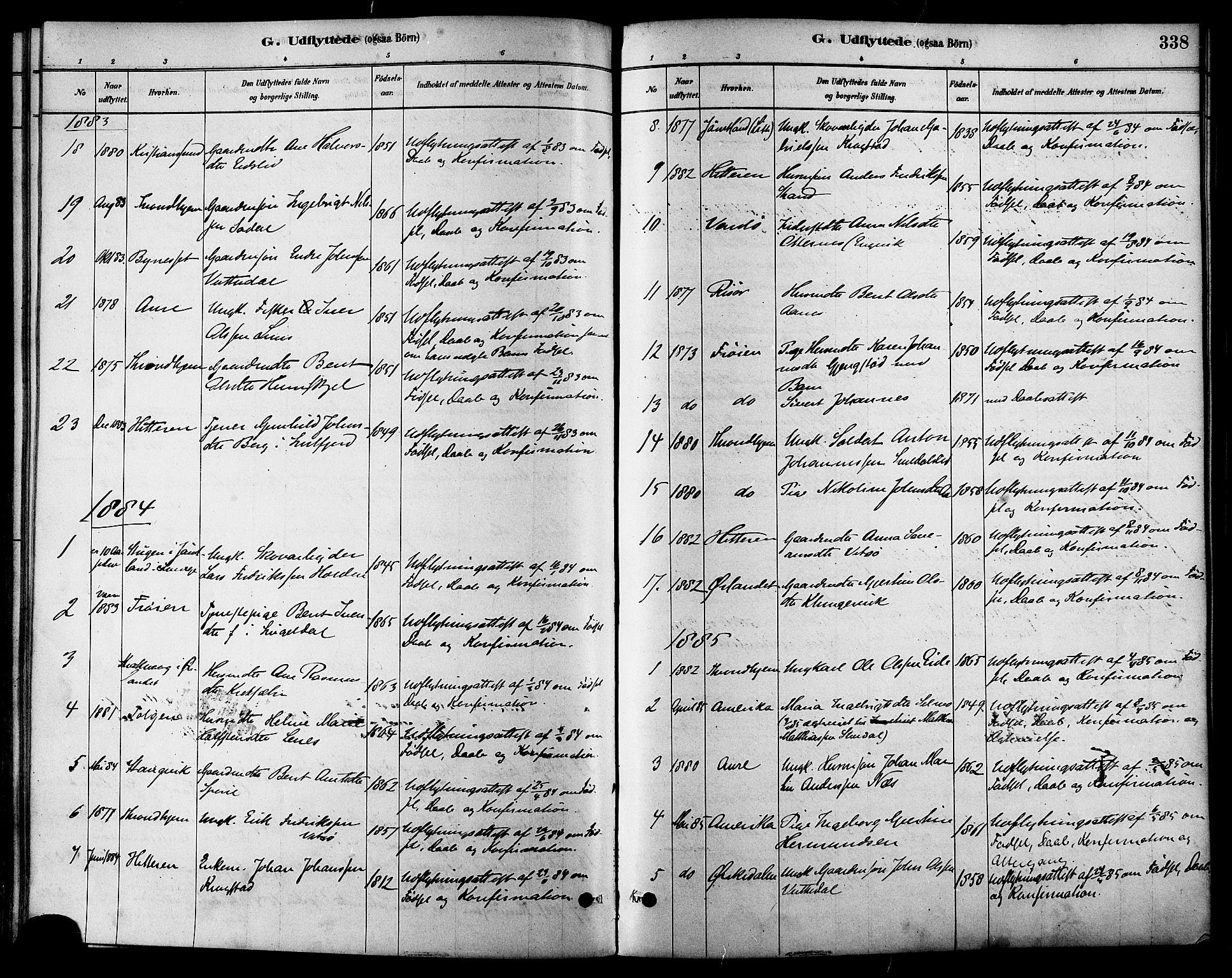 SAT, Ministerialprotokoller, klokkerbøker og fødselsregistre - Sør-Trøndelag, 630/L0496: Ministerialbok nr. 630A09, 1879-1895, s. 338