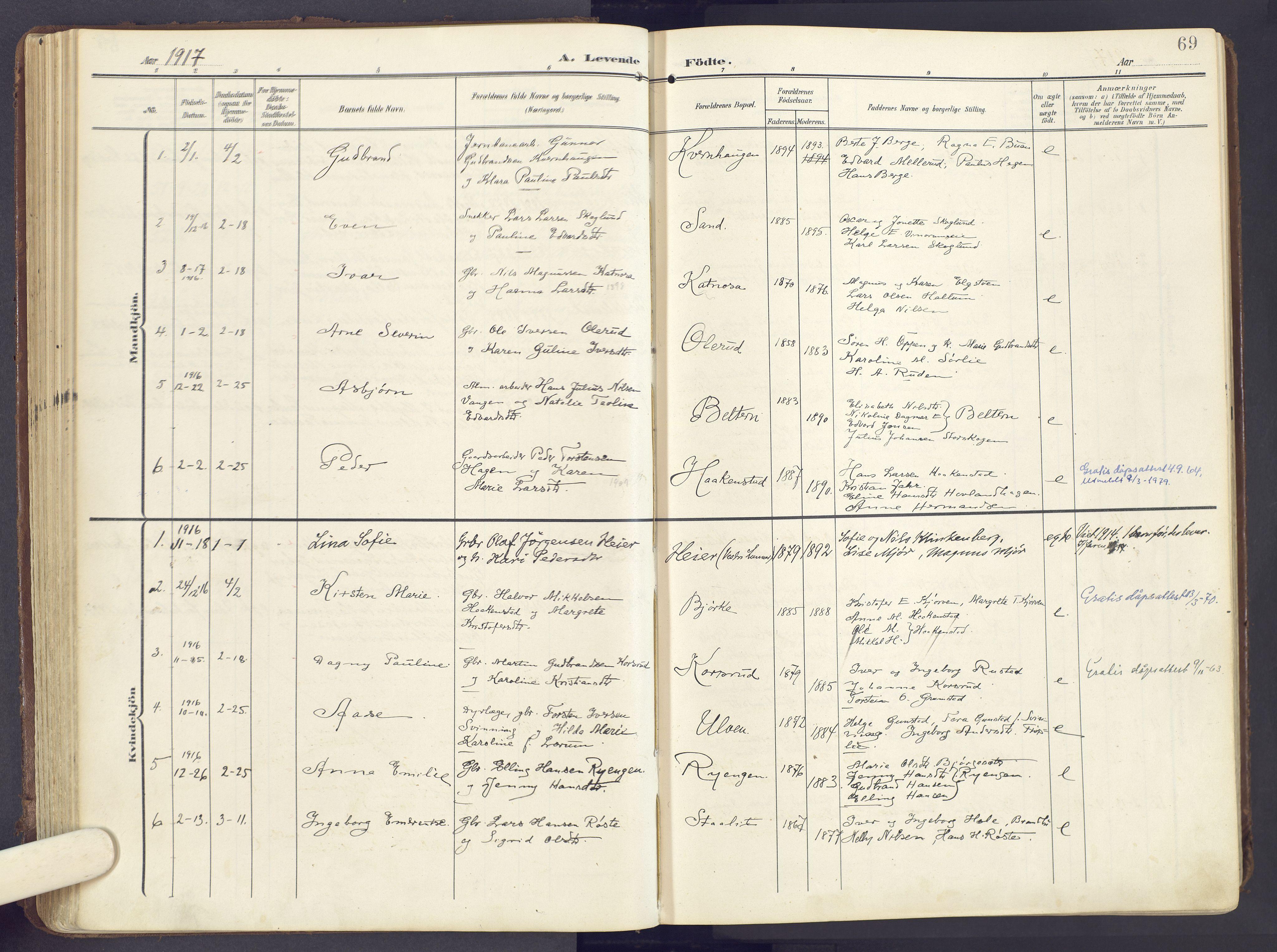 SAH, Lunner prestekontor, H/Ha/Haa/L0001: Ministerialbok nr. 1, 1907-1922, s. 69