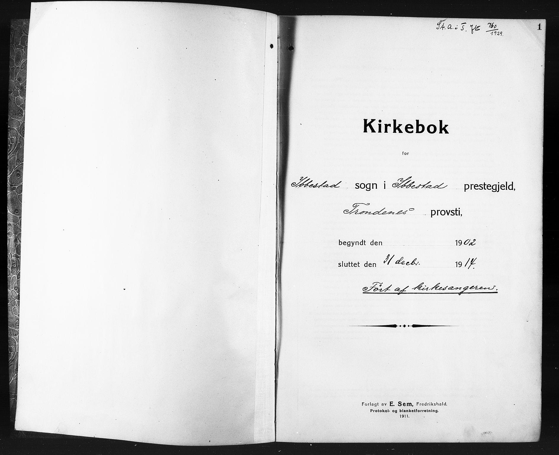 SATØ, Ibestad sokneprestembete, Klokkerbok nr. 9, 1902-1914, s. 1