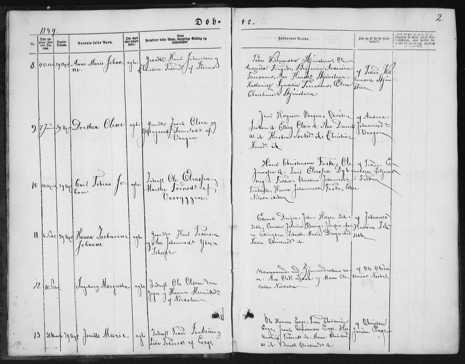 SAT, Ministerialprotokoller, klokkerbøker og fødselsregistre - Nordland, 852/L0738: Ministerialbok nr. 852A08, 1849-1865, s. 2