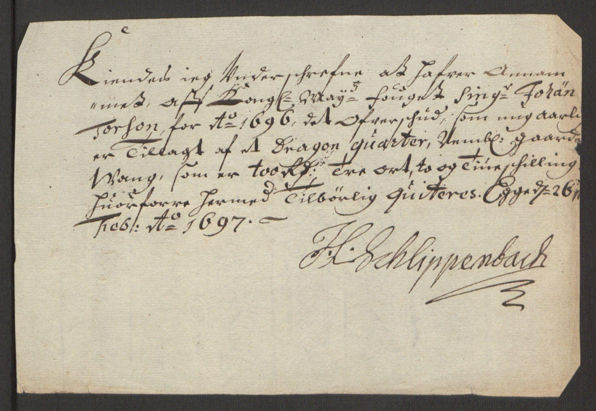 RA, Rentekammeret inntil 1814, Reviderte regnskaper, Fogderegnskap, R63/L4309: Fogderegnskap Inderøy, 1695-1697, s. 348