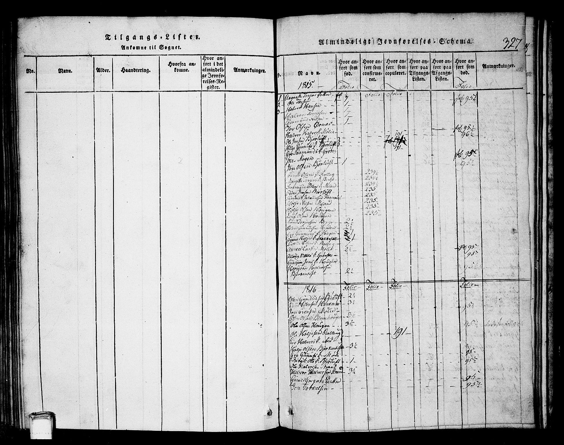 SAKO, Tinn kirkebøker, G/Gb/L0001: Klokkerbok nr. II 1 /1, 1815-1850, s. 327