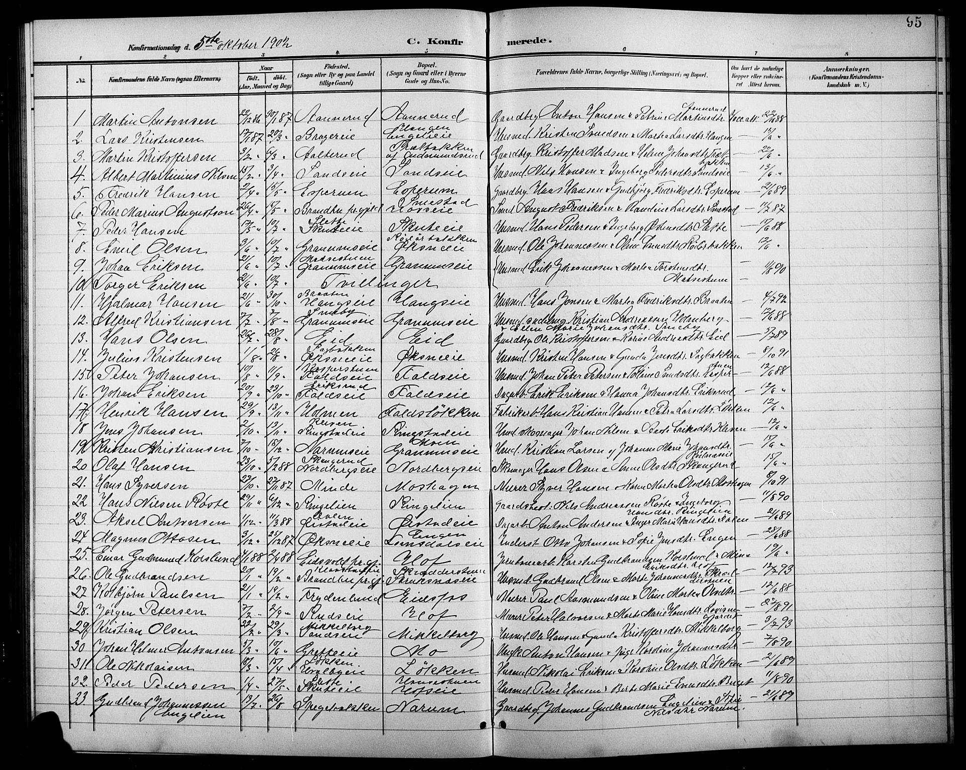 SAH, Søndre Land prestekontor, L/L0004: Klokkerbok nr. 4, 1901-1915, s. 95