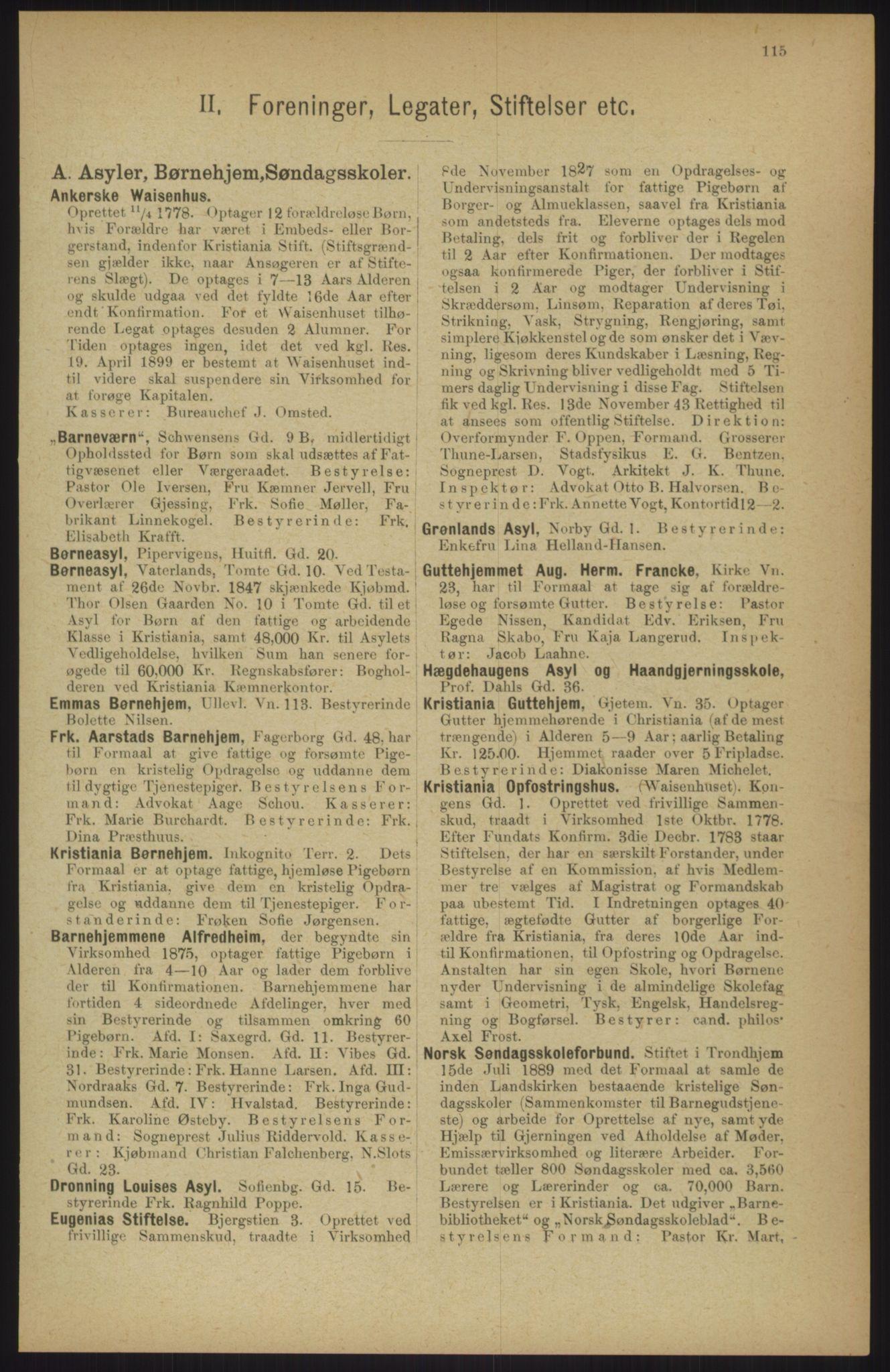 RA, Kristiania adressebok (publikasjon)*, 1911, s. 115