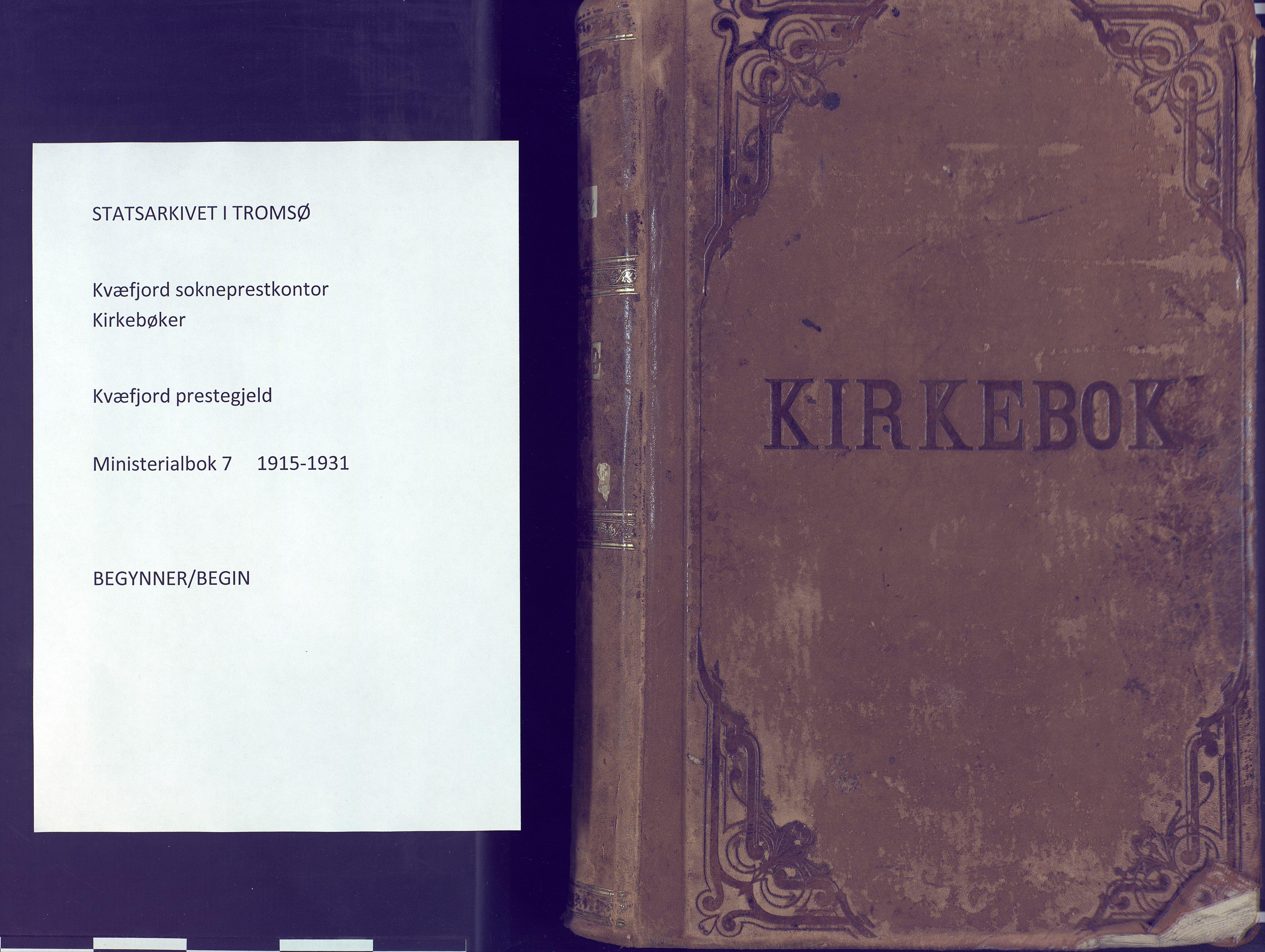 SATØ, Kvæfjord sokneprestkontor, G/Ga/Gaa/L0007kirke: Ministerialbok nr. 7, 1915-1931