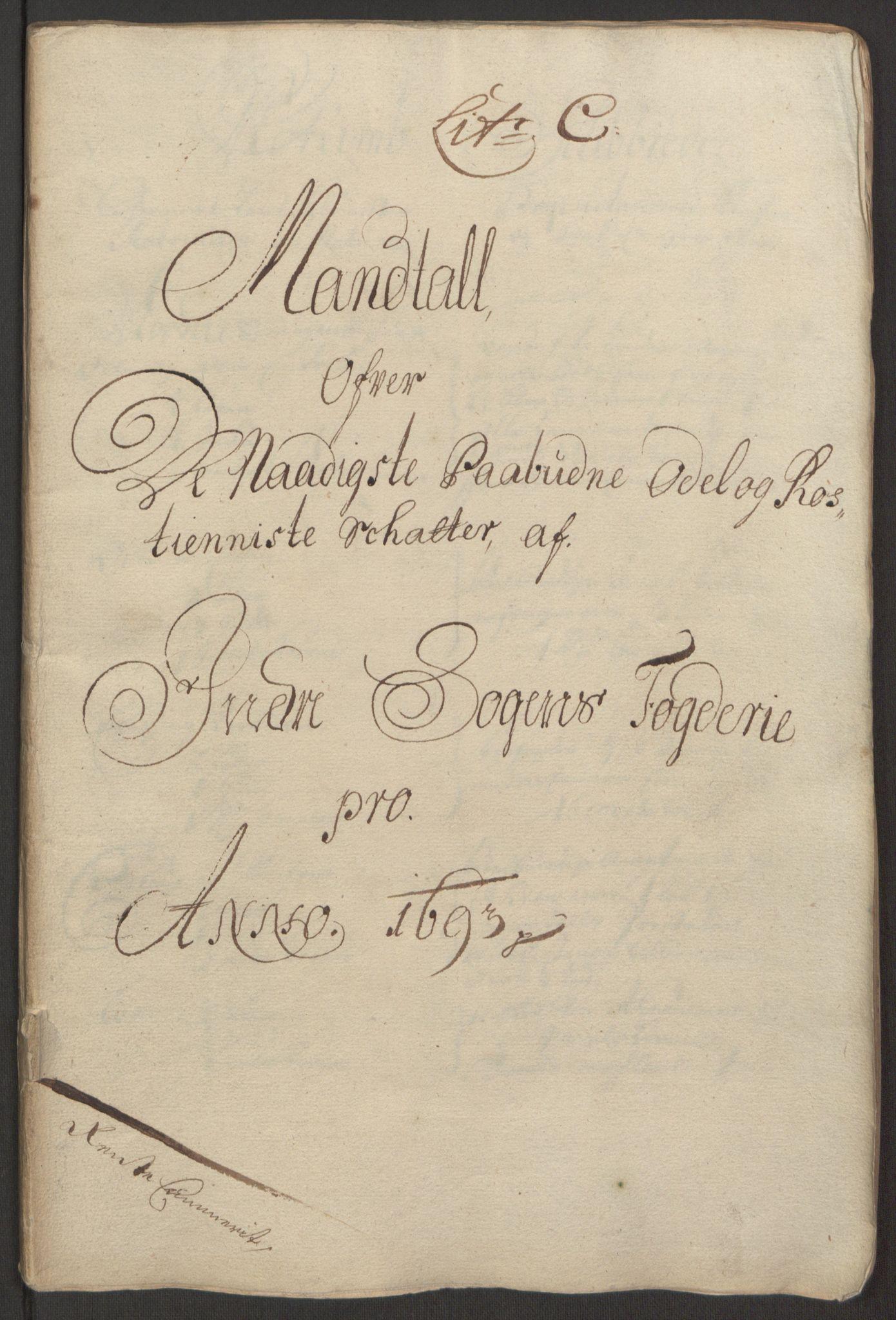 RA, Rentekammeret inntil 1814, Reviderte regnskaper, Fogderegnskap, R52/L3307: Fogderegnskap Sogn, 1693-1694, s. 50