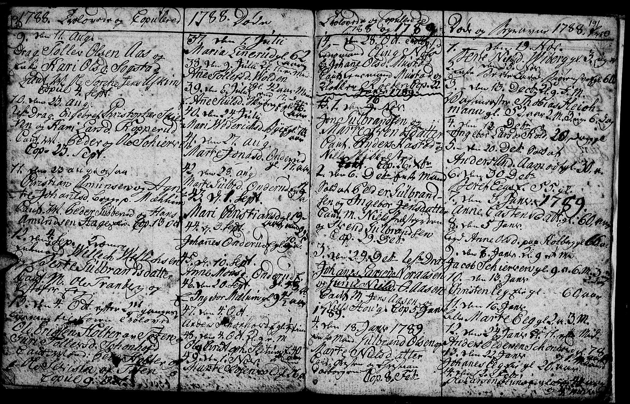 SAH, Vardal prestekontor, H/Ha/Hab/L0001: Klokkerbok nr. 1, 1771-1790, s. 190-191