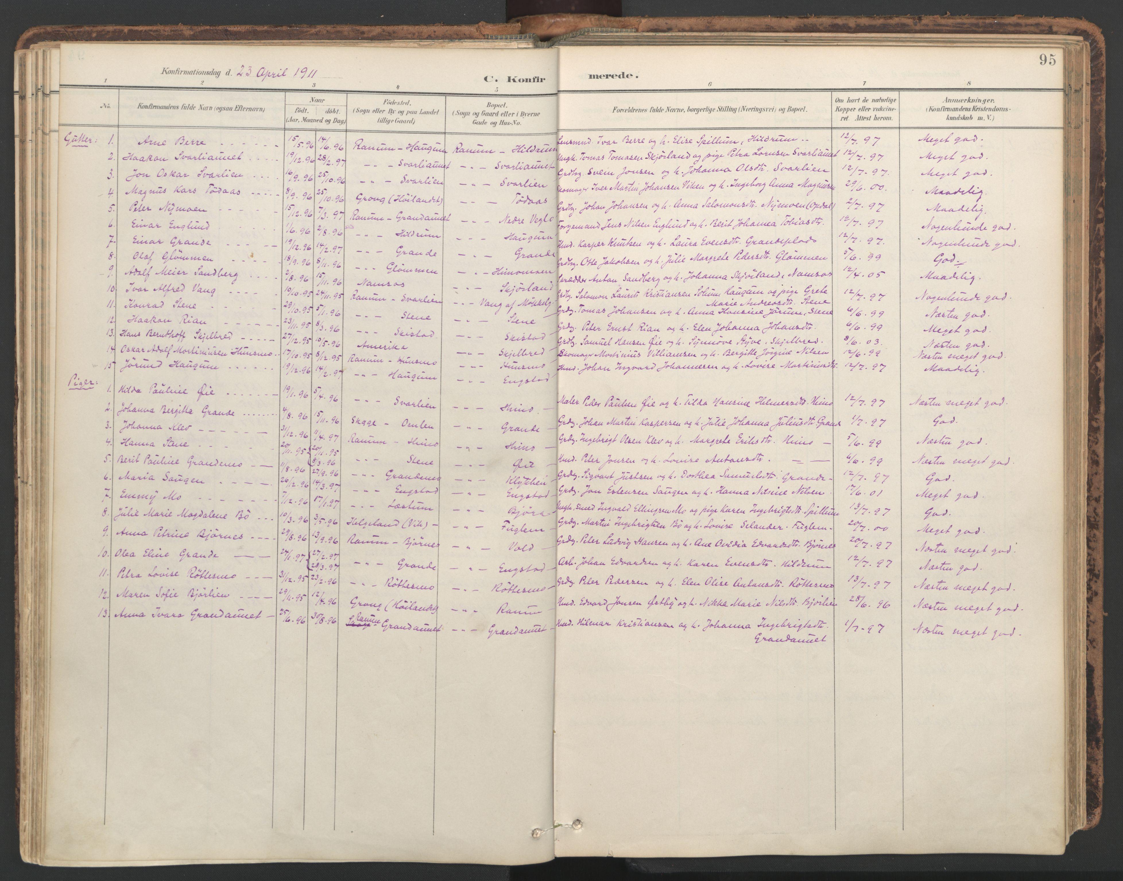 SAT, Ministerialprotokoller, klokkerbøker og fødselsregistre - Nord-Trøndelag, 764/L0556: Ministerialbok nr. 764A11, 1897-1924, s. 95