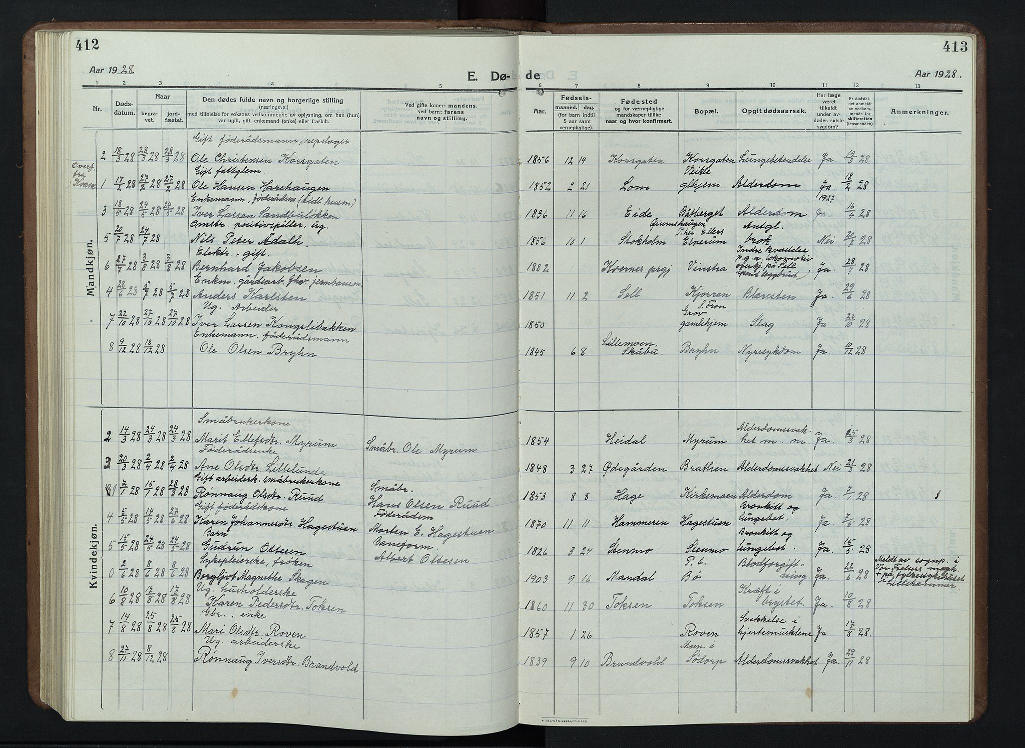 SAH, Nord-Fron prestekontor, Klokkerbok nr. 7, 1915-1946, s. 412-413