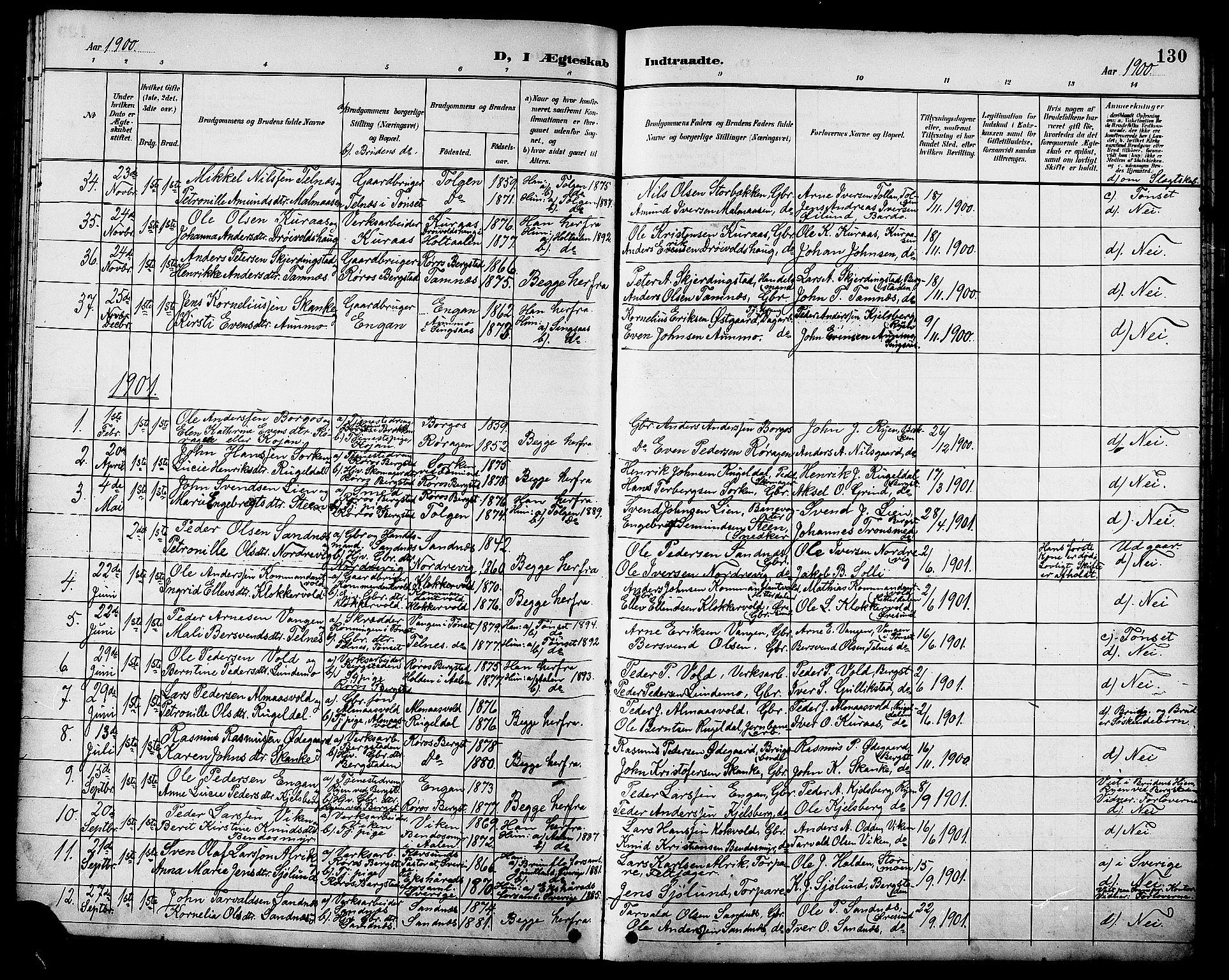 SAT, Ministerialprotokoller, klokkerbøker og fødselsregistre - Sør-Trøndelag, 681/L0941: Klokkerbok nr. 681C05, 1896-1905, s. 130