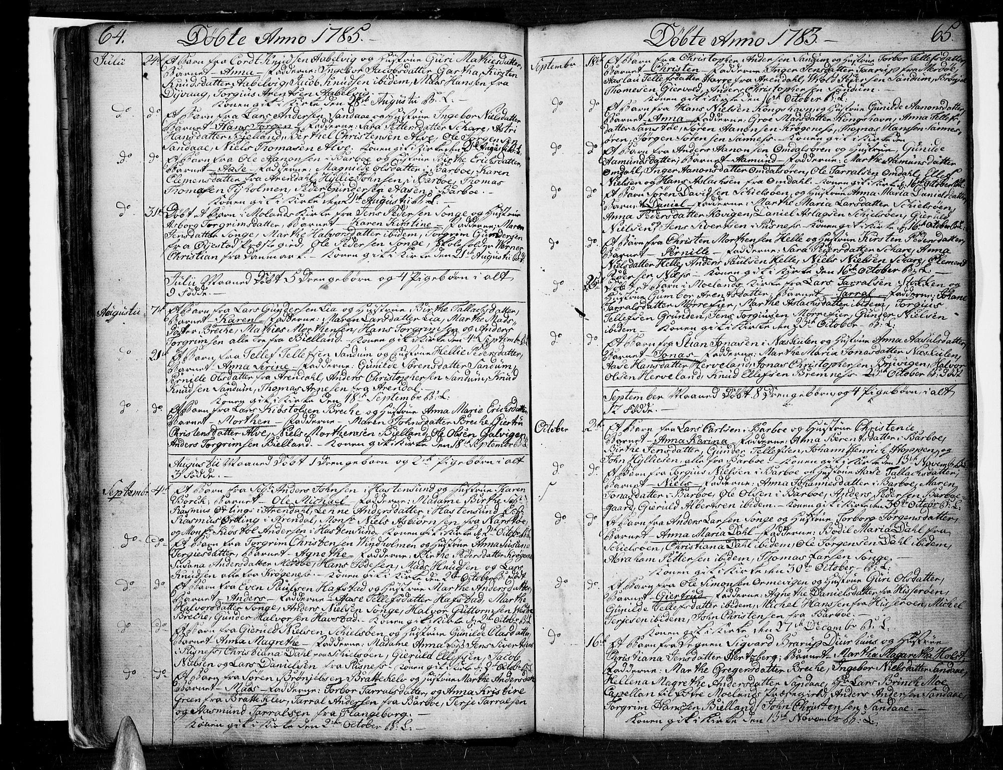 SAK, Tromøy sokneprestkontor, F/Fa/L0002: Ministerialbok nr. A 2, 1773-1808, s. 64-65
