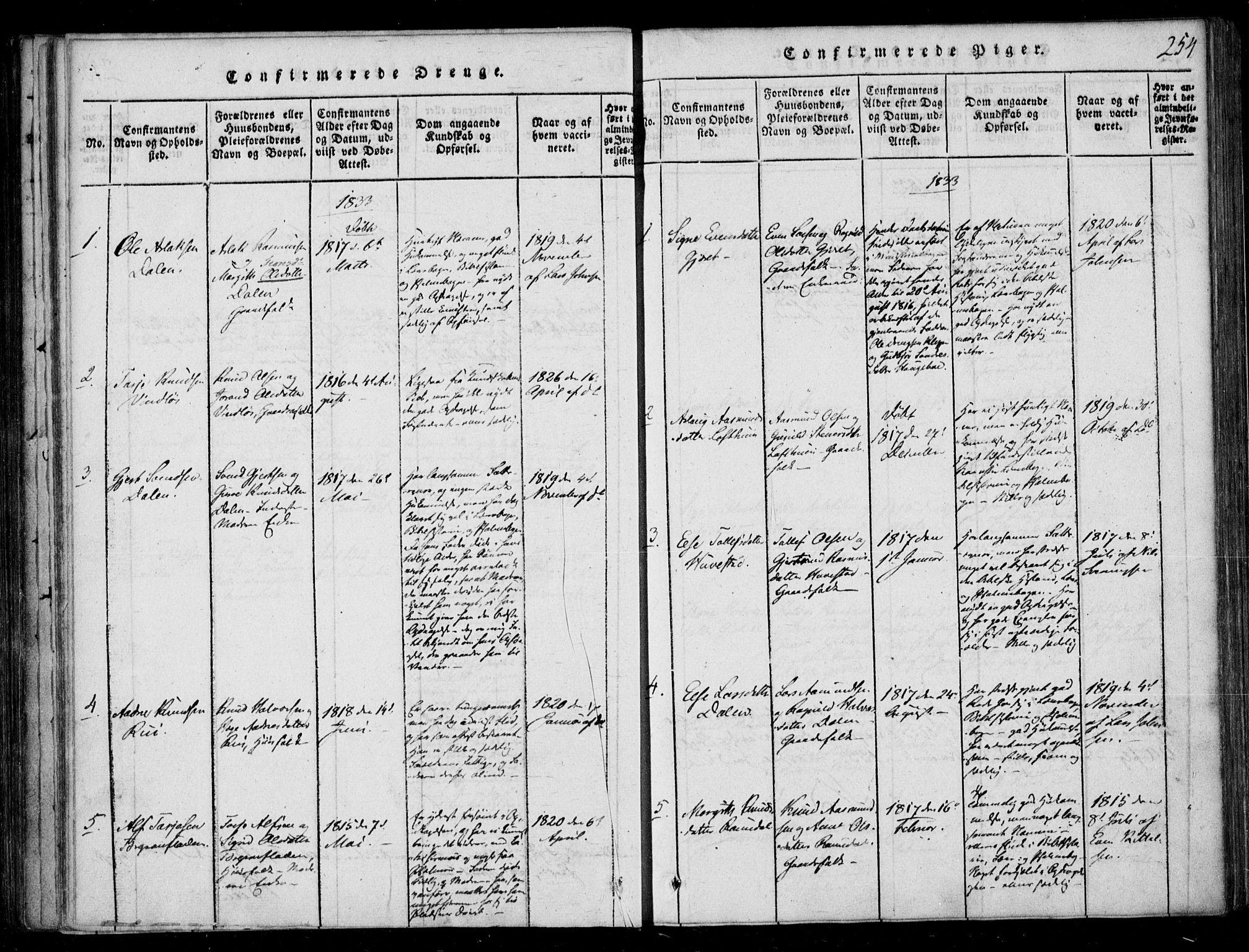 SAKO, Lårdal kirkebøker, F/Fb/L0001: Ministerialbok nr. II 1, 1815-1860, s. 254