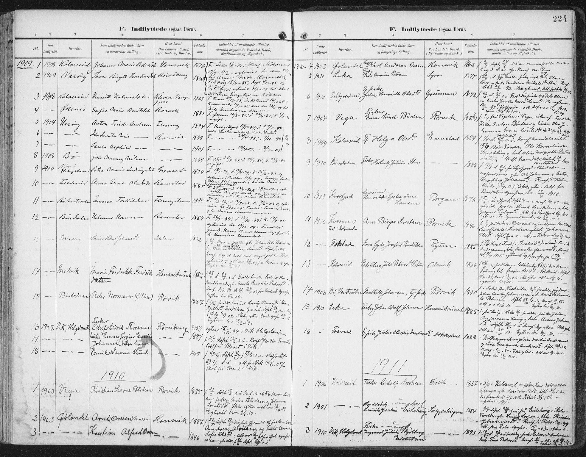 SAT, Ministerialprotokoller, klokkerbøker og fødselsregistre - Nord-Trøndelag, 786/L0688: Ministerialbok nr. 786A04, 1899-1912, s. 224