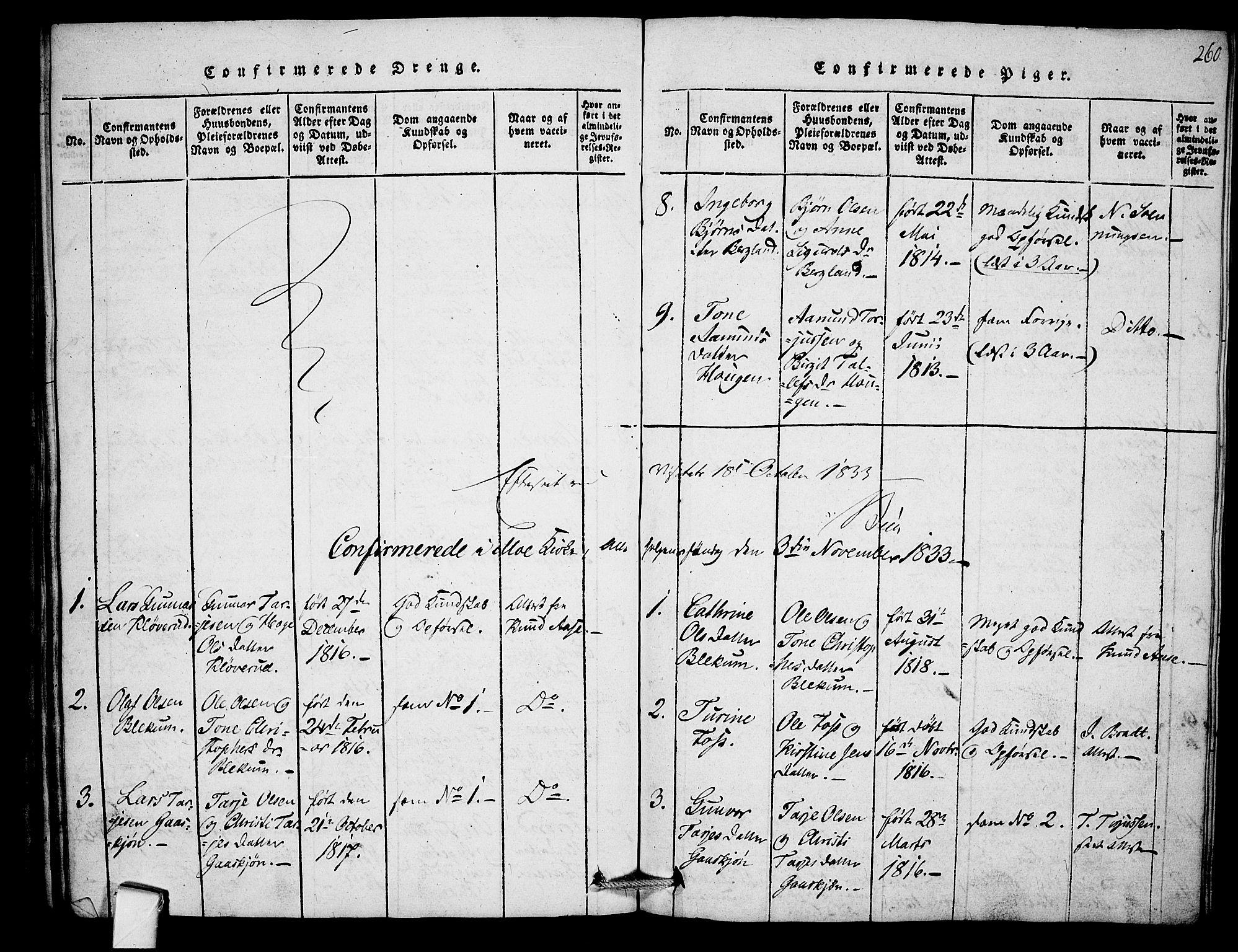 SAKO, Mo kirkebøker, F/Fb/L0001: Ministerialbok nr. II 1, 1814-1844, s. 260