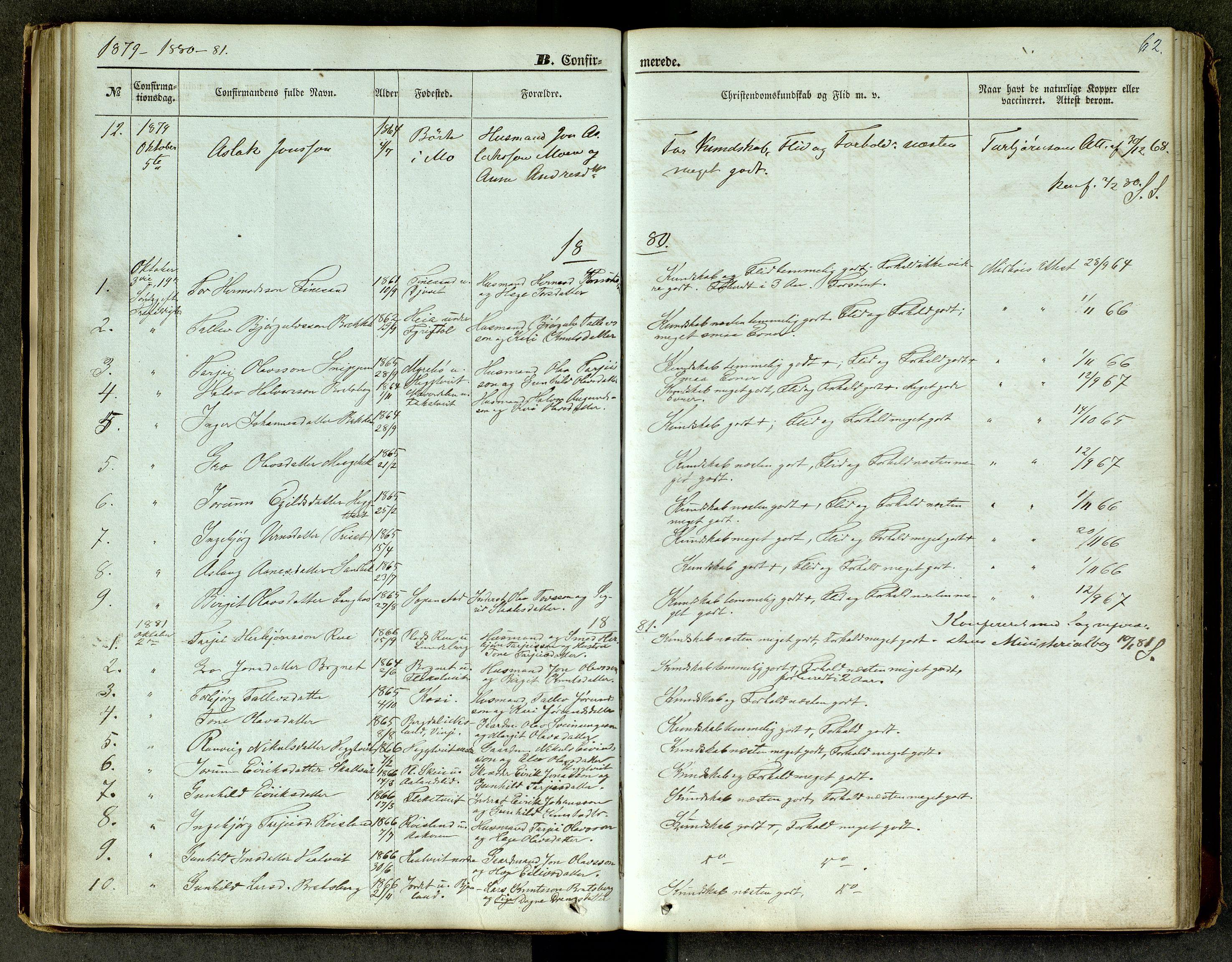 SAKO, Lårdal kirkebøker, G/Ga/L0002: Klokkerbok nr. I 2, 1861-1890, s. 62