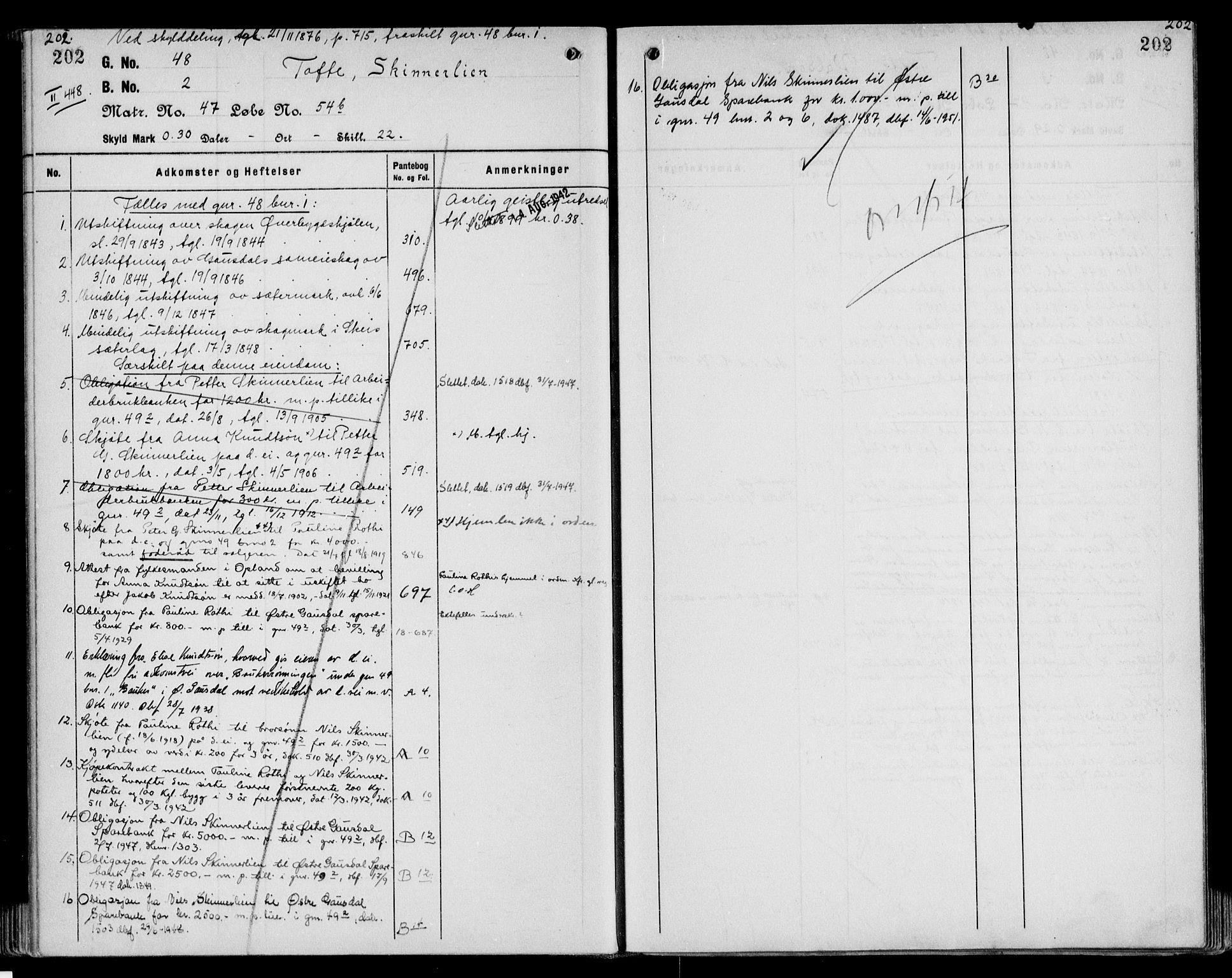 SAH, Sør-Gudbrandsdal tingrett, H/Ha/Hag/L0011: Panteregister nr. 3.11, 1913-1959, s. 202