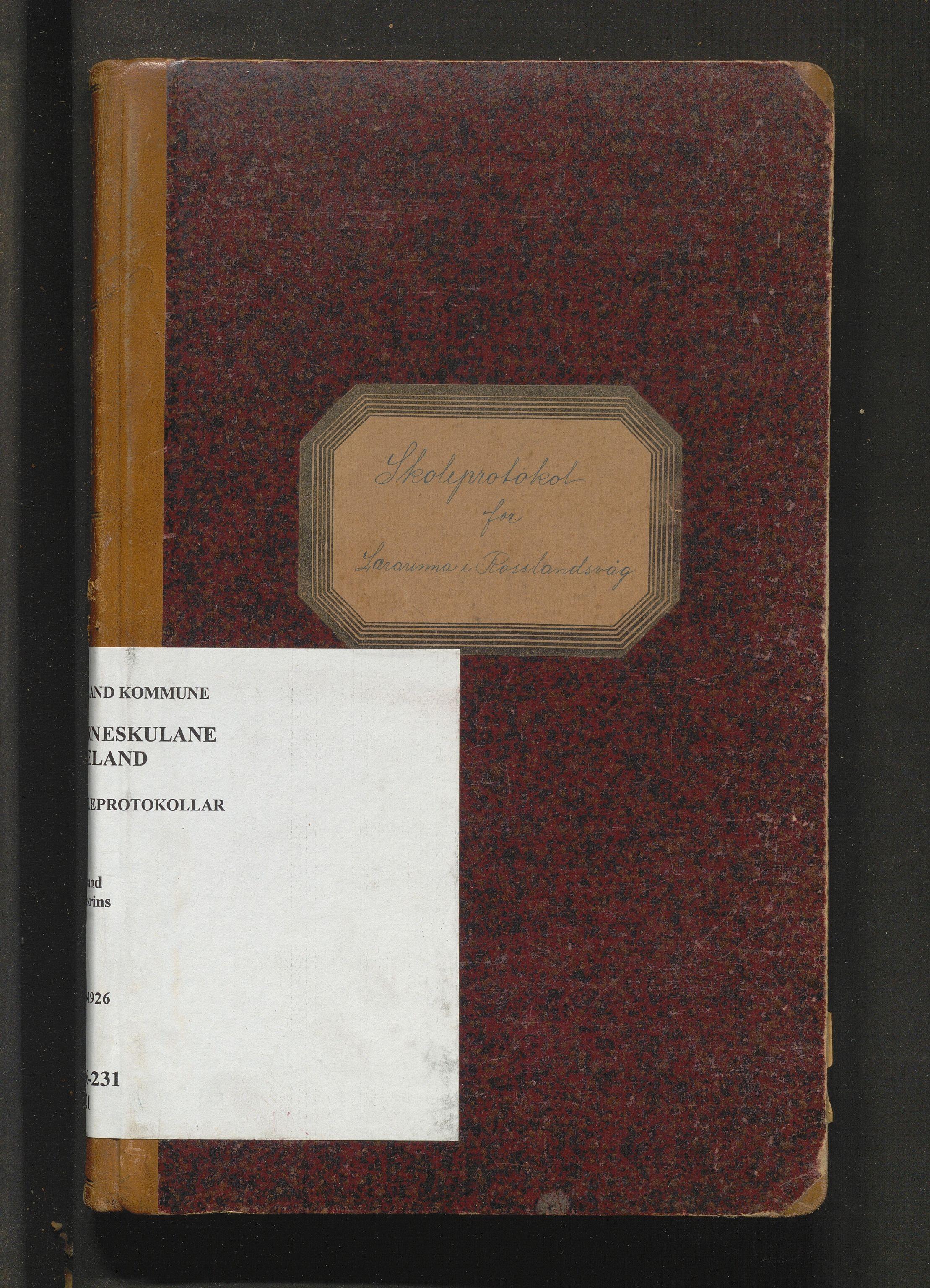 IKAH, Meland kommune. Barneskulane, F/Fa/L0021: Skuleprotokoll for Rossland krins, 1923-1926