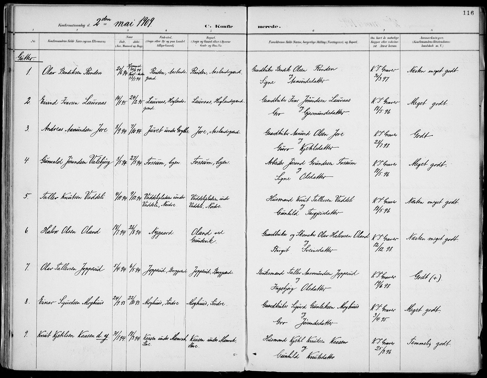 SAKO, Fyresdal kirkebøker, F/Fa/L0007: Ministerialbok nr. I 7, 1887-1914, s. 116