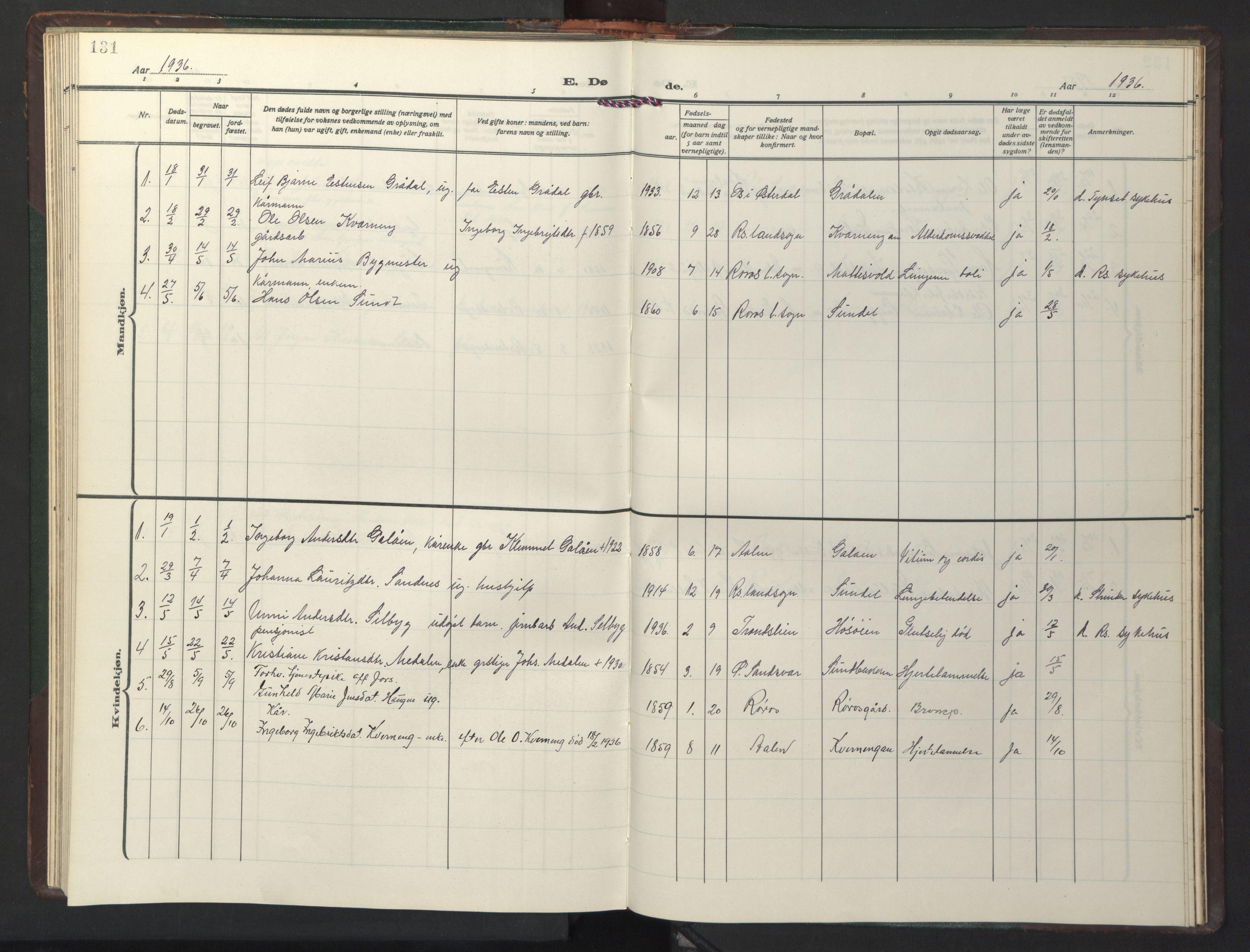 SAT, Ministerialprotokoller, klokkerbøker og fødselsregistre - Sør-Trøndelag, 681/L0944: Klokkerbok nr. 681C08, 1926-1954, s. 131