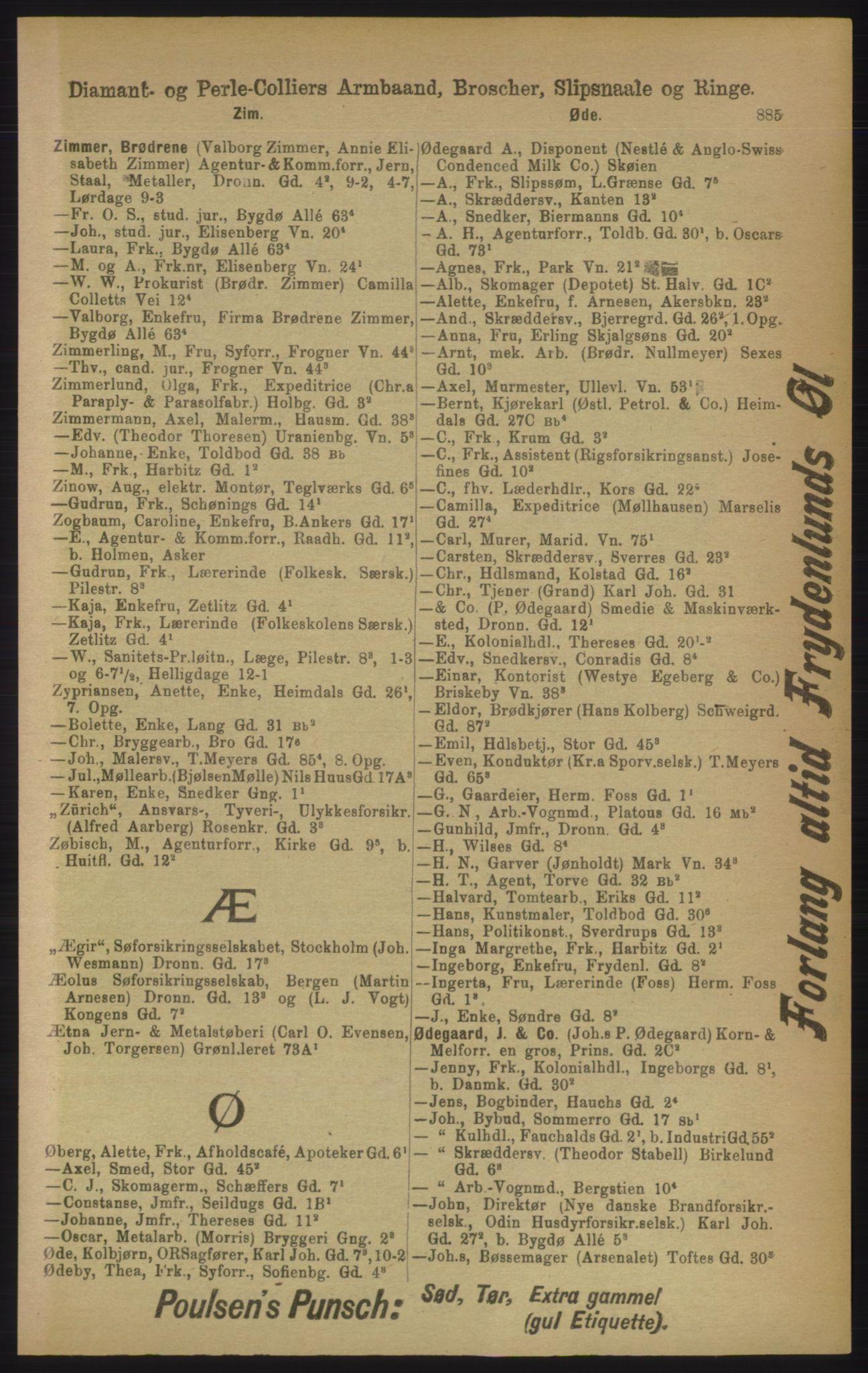 RA, Kristiania adressebok (publikasjon)*, 1906, s. 885