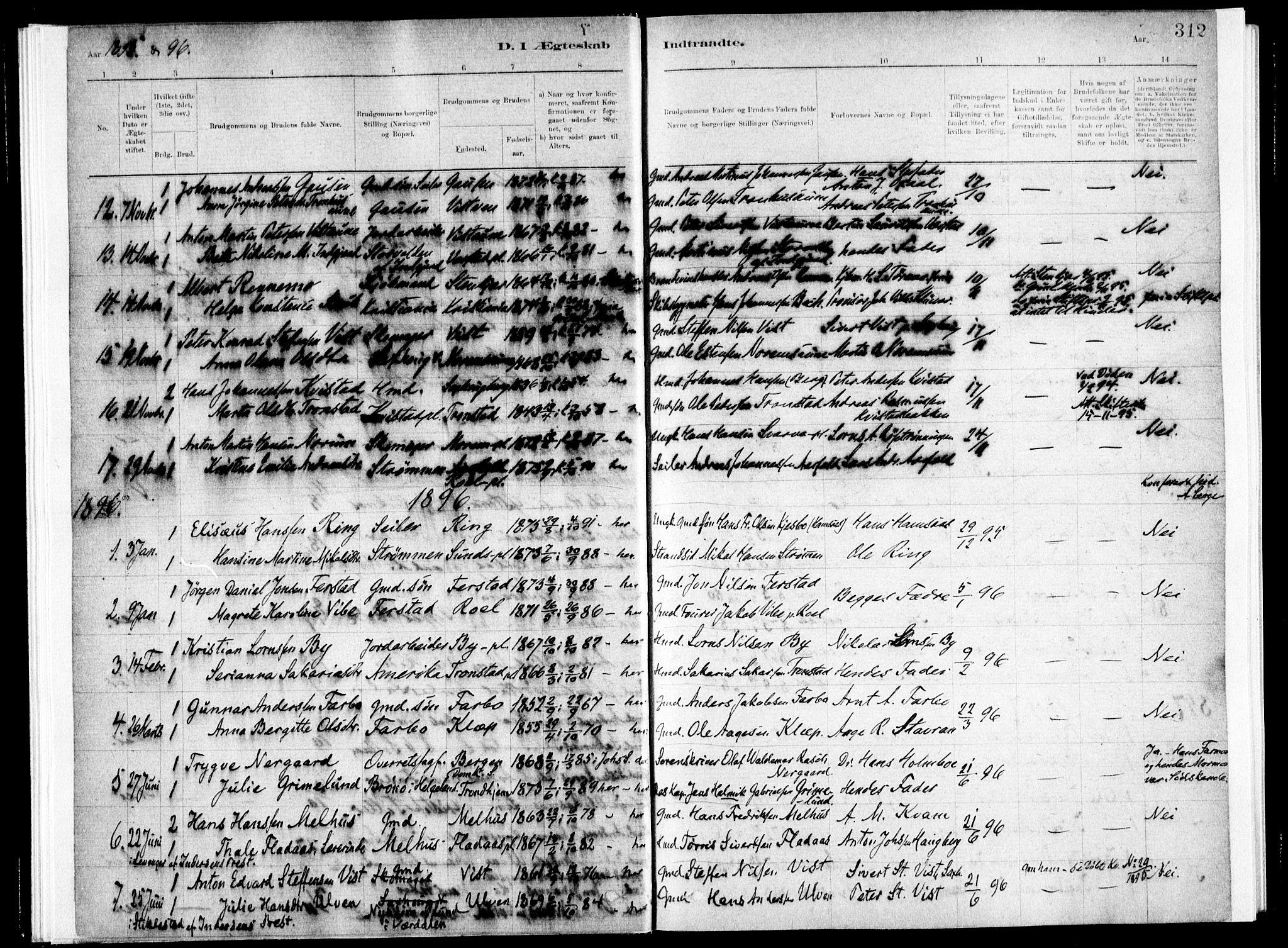 SAT, Ministerialprotokoller, klokkerbøker og fødselsregistre - Nord-Trøndelag, 730/L0285: Ministerialbok nr. 730A10, 1879-1914, s. 312