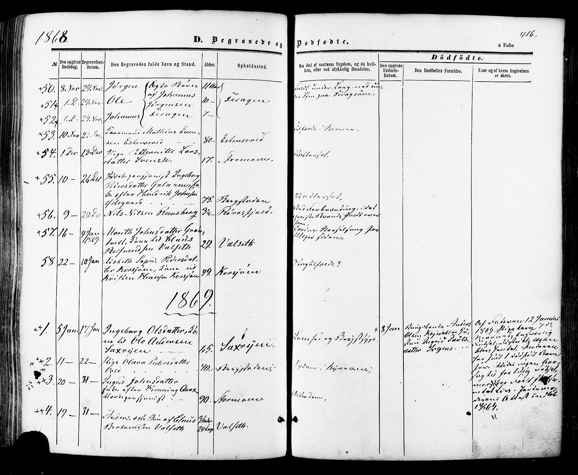 SAT, Ministerialprotokoller, klokkerbøker og fødselsregistre - Sør-Trøndelag, 681/L0932: Ministerialbok nr. 681A10, 1860-1878, s. 416