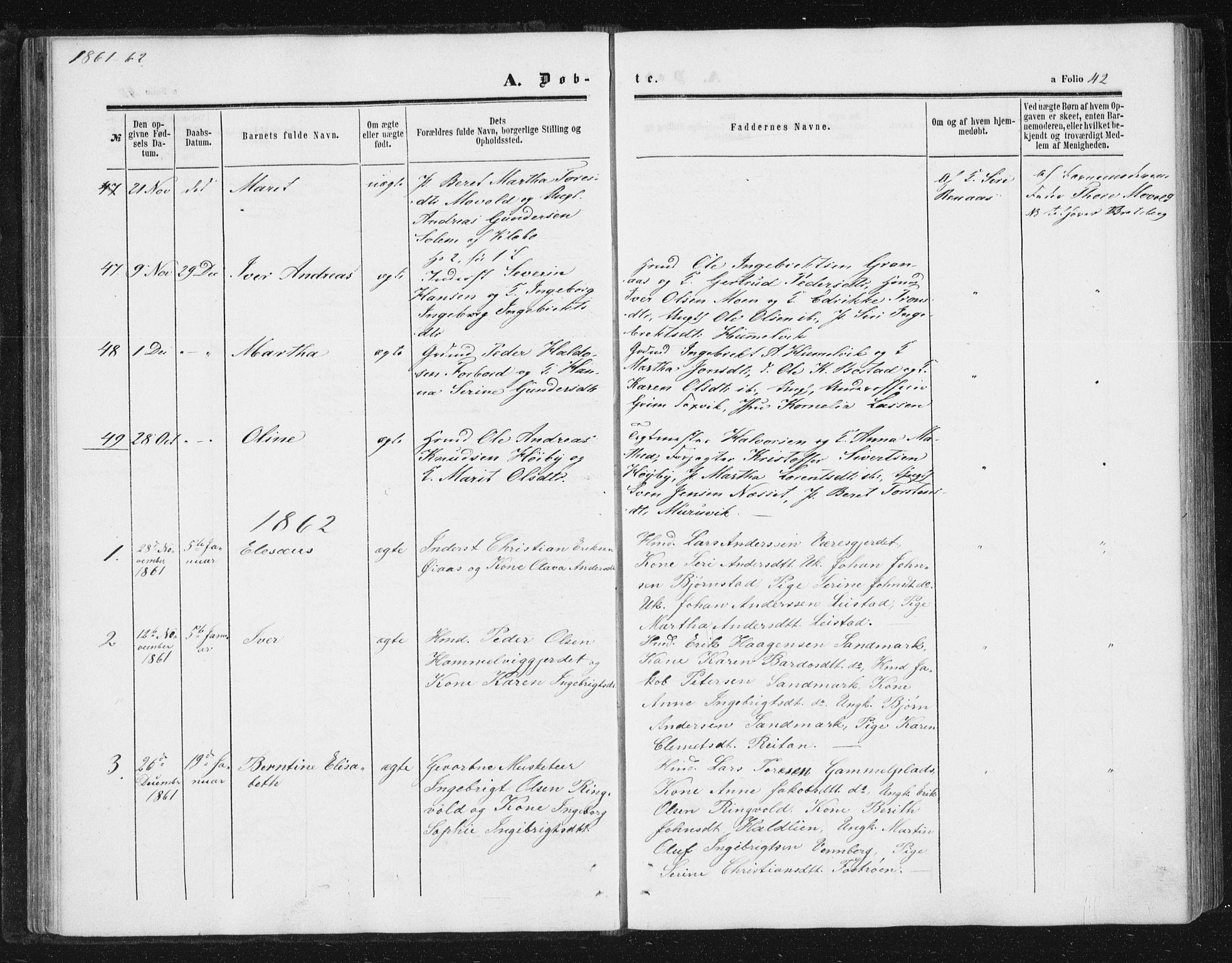 SAT, Ministerialprotokoller, klokkerbøker og fødselsregistre - Sør-Trøndelag, 616/L0408: Ministerialbok nr. 616A05, 1857-1865, s. 42